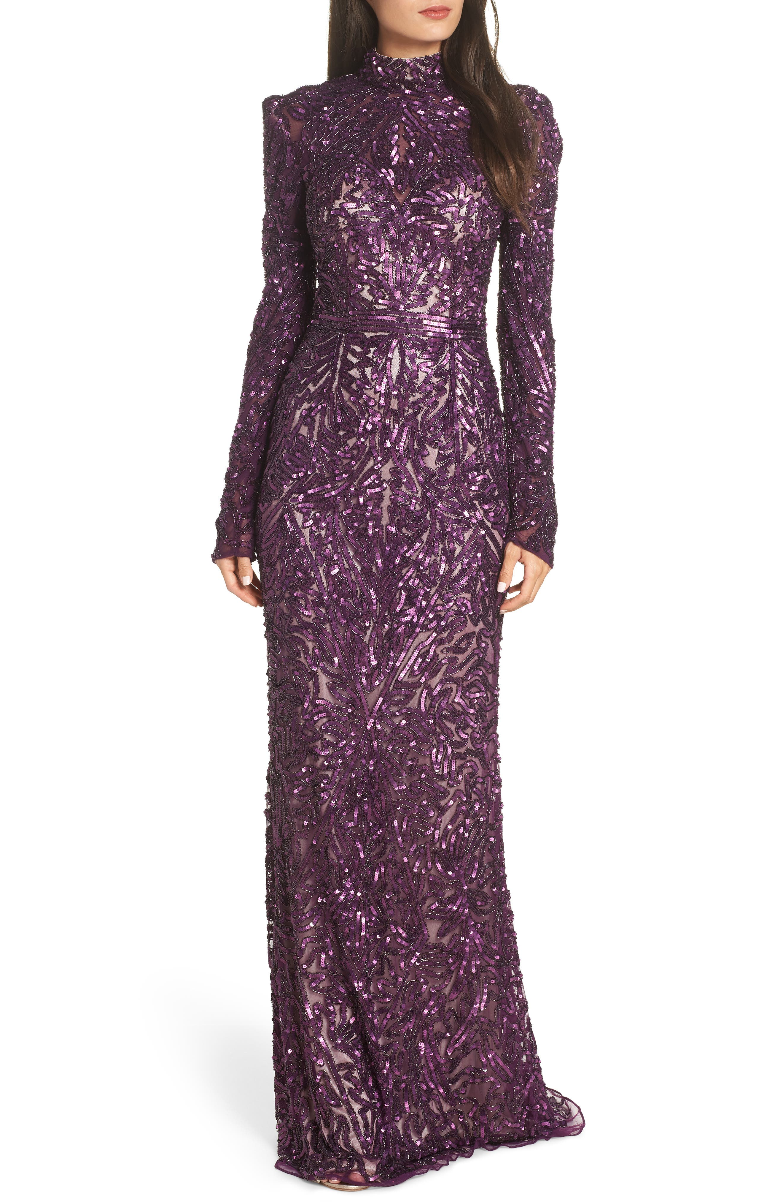High Neck Sequin Gown with Train,                             Main thumbnail 1, color,                             AUBERGINE