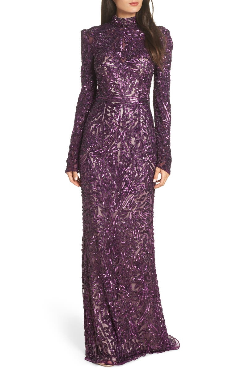 High Neck Sequin Gown with Train,                         Main,                         color, AUBERGINE