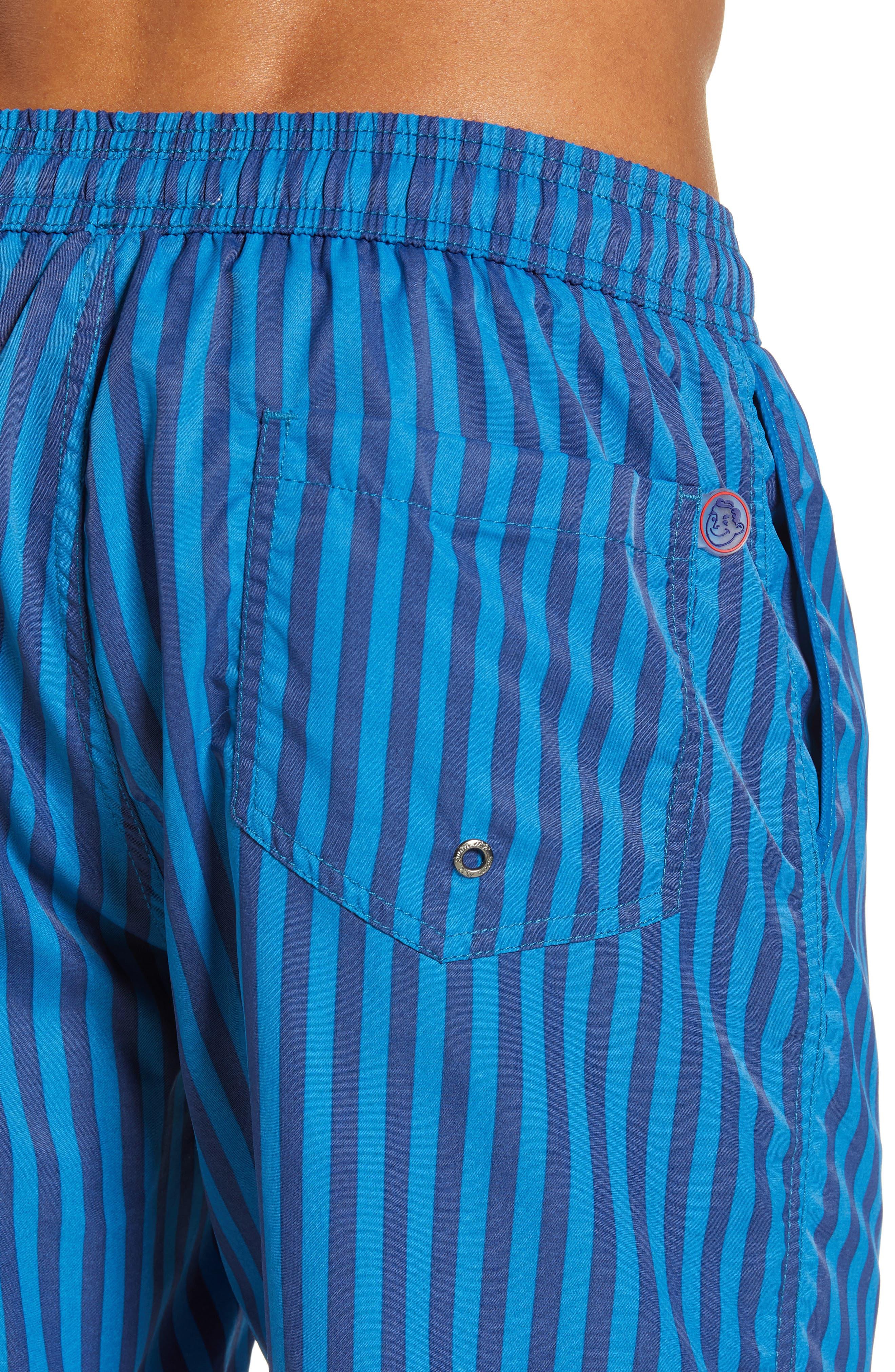 Mr. Swim Cabana Stripe Swim Trunks,                             Alternate thumbnail 4, color,                             NAVY/ ROYAL