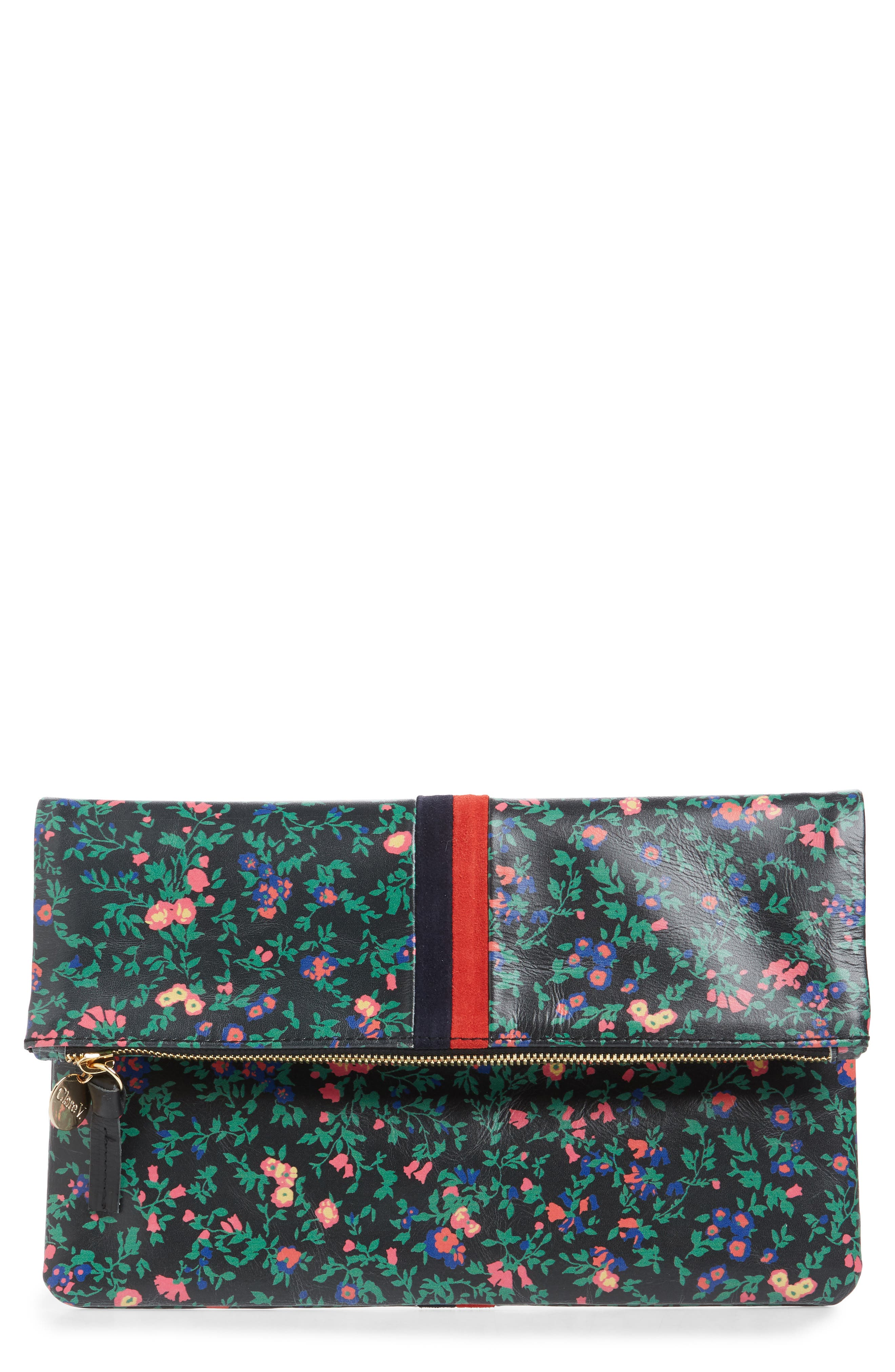 Foldover Ditzy Floral Leather Clutch,                             Main thumbnail 1, color,                             BLACK
