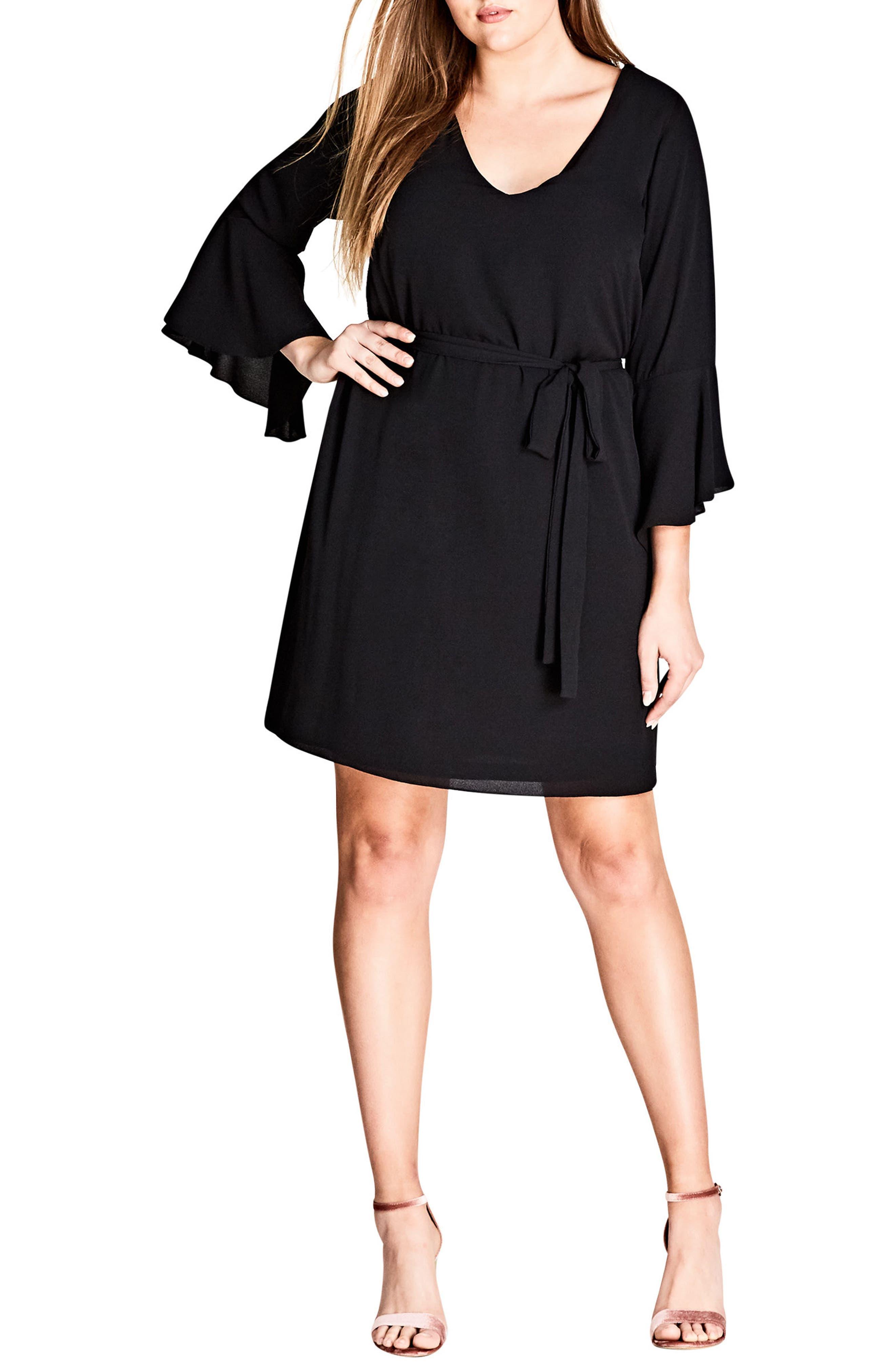 Tie Waist Bell Sleeve Dress,                             Main thumbnail 1, color,                             BLACK