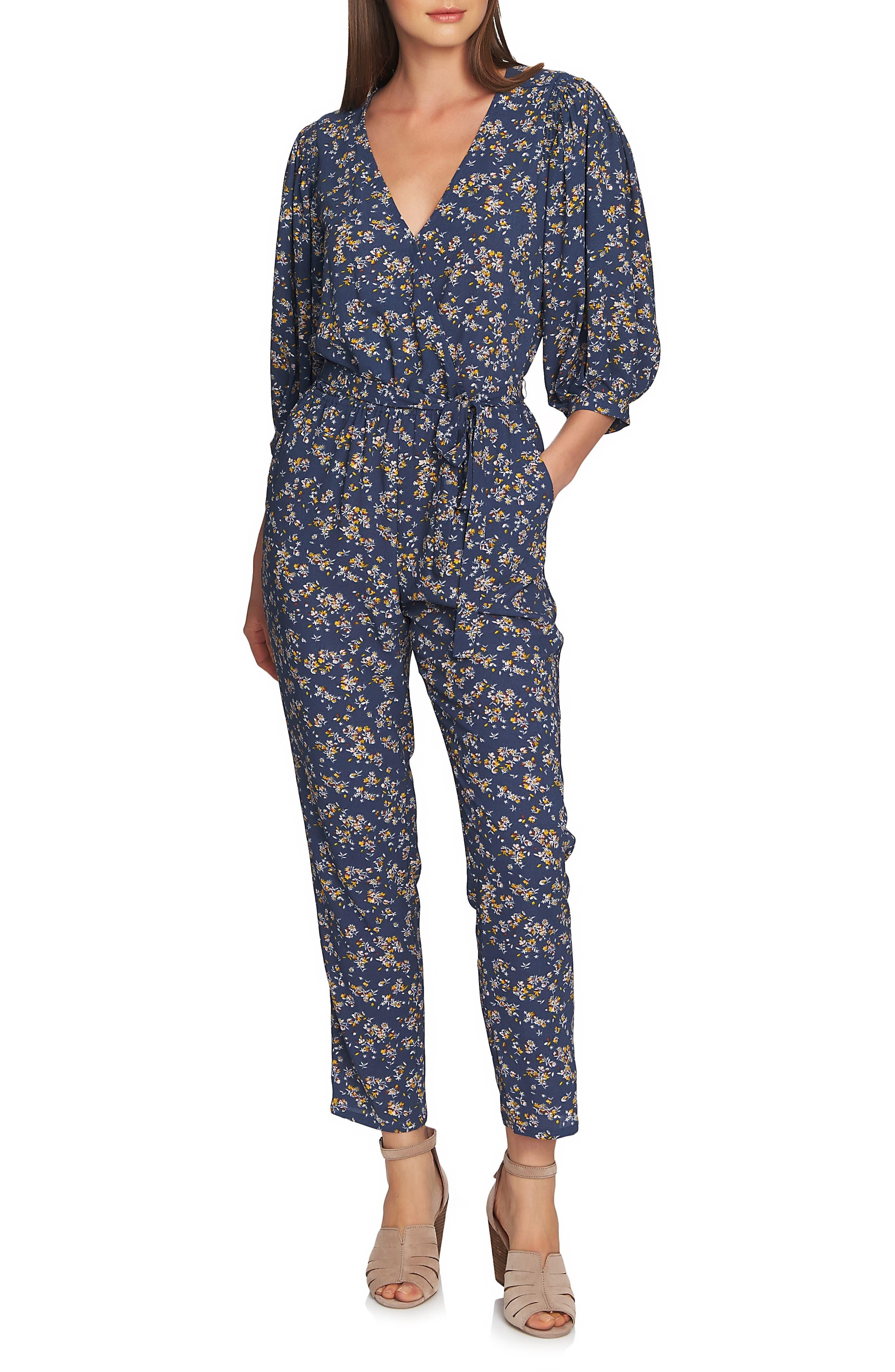 Heritage Bouquet Wrap Tie Waist Pants, Main, color, ANTIQUE BLUE