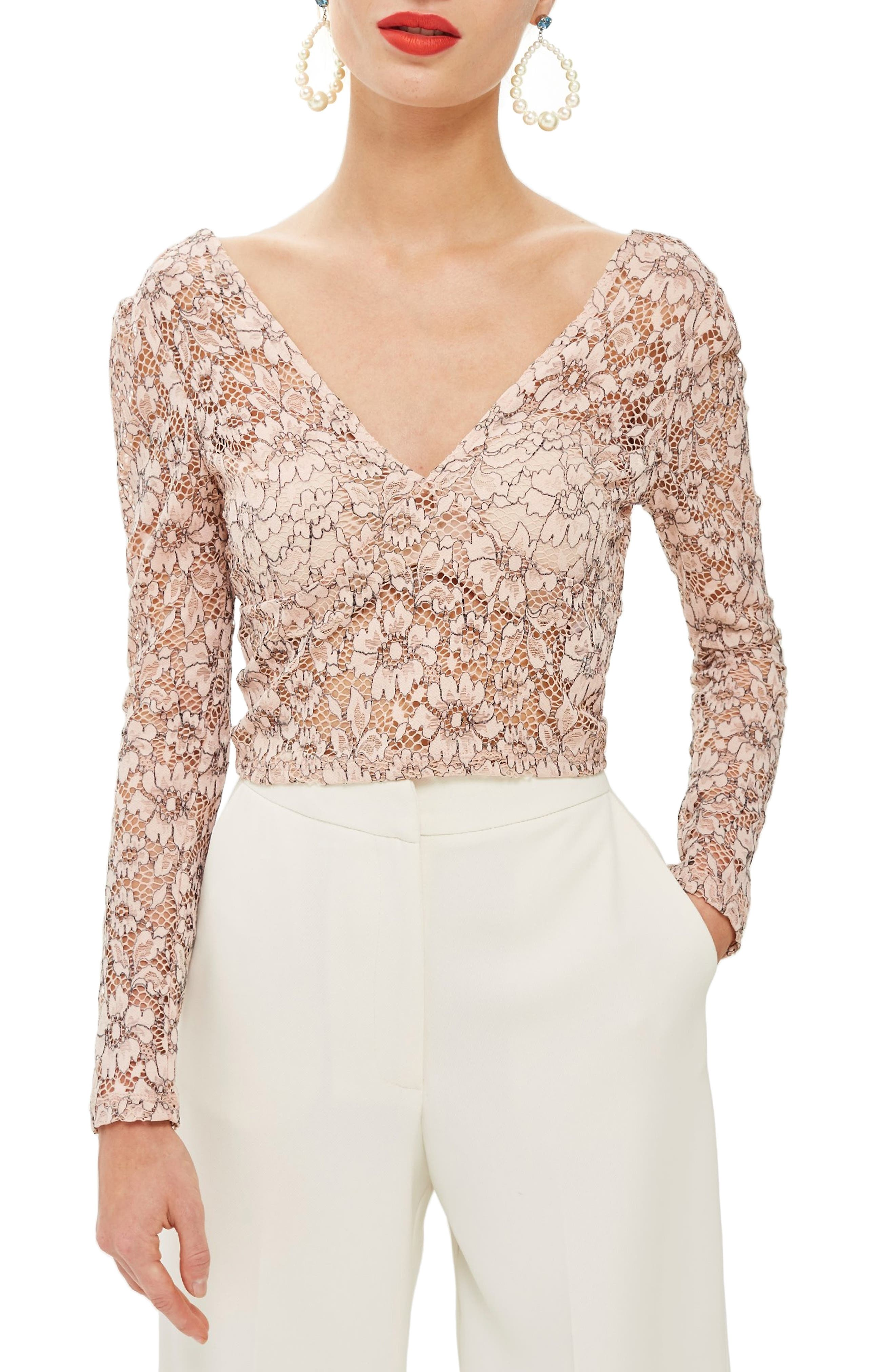 Lace Crop Plunge Top,                         Main,                         color, PINK MULTI