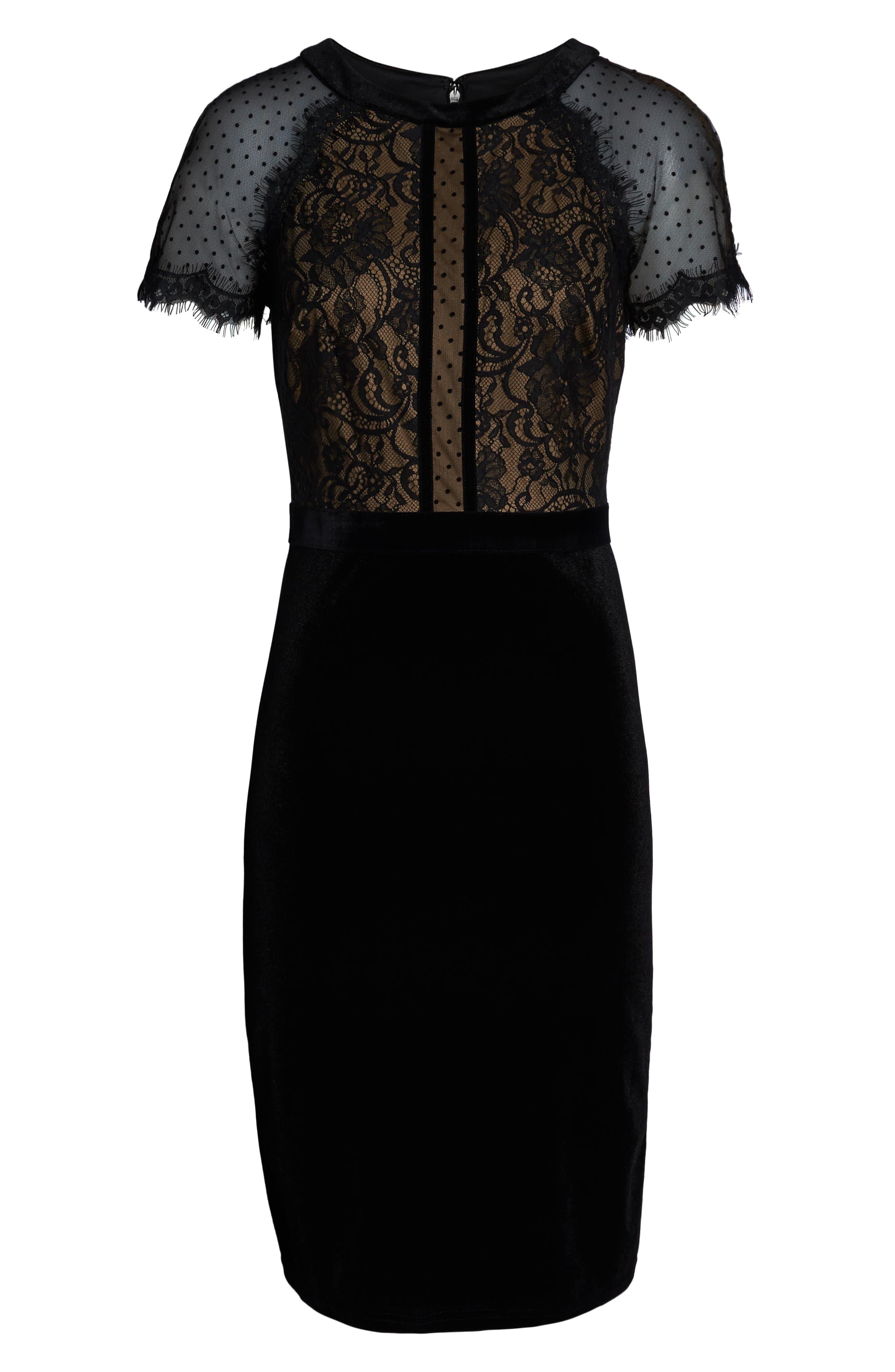 TADASHI SHOJI,                             Lace & Velvet Dress,                             Alternate thumbnail 7, color,                             BLACK/ NUDE