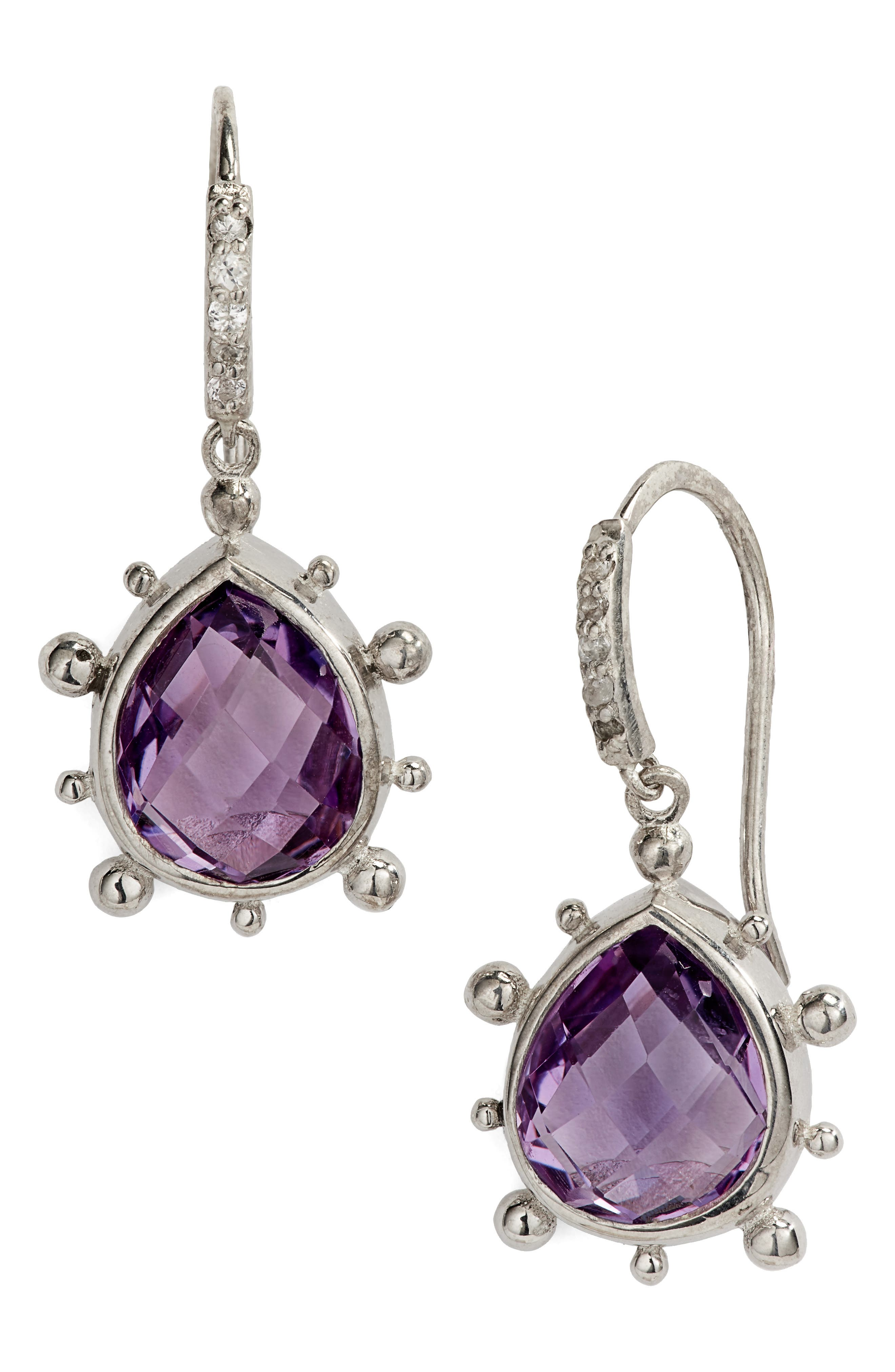 ANZIE,                             Dew Drop Purple Amethyst Earrings,                             Main thumbnail 1, color,                             SILVER/ PURPLE