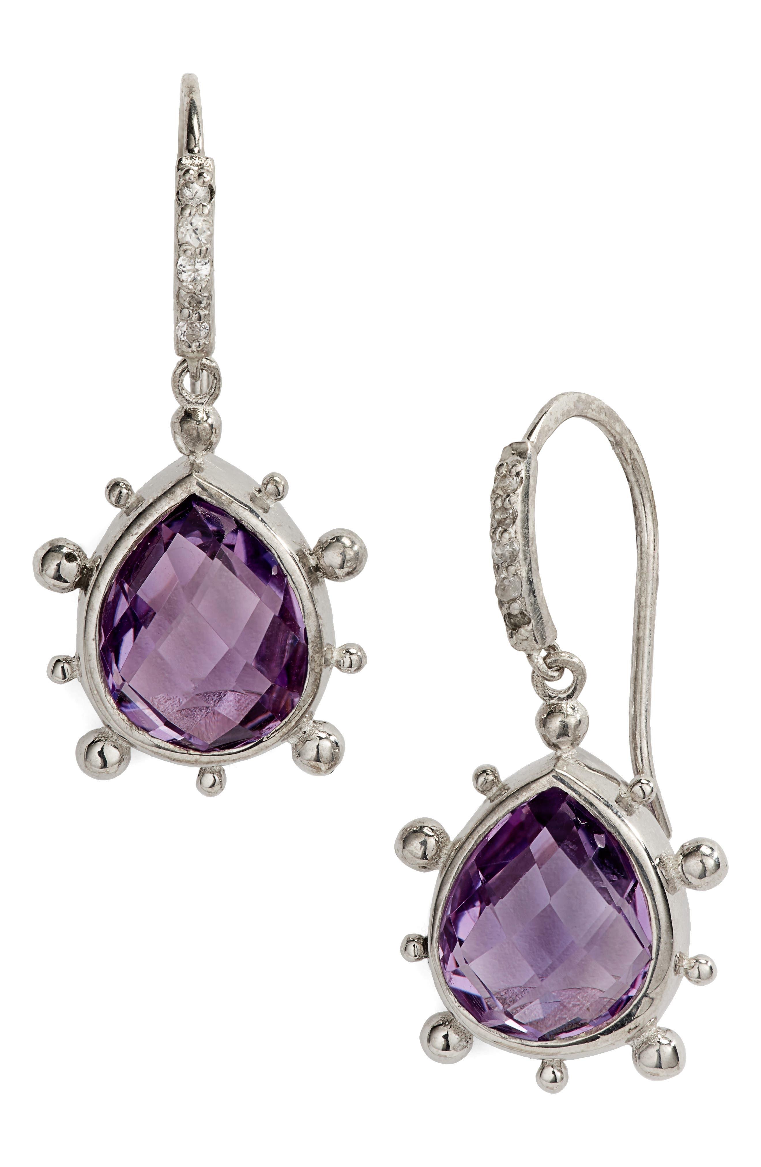 ANZIE Dew Drop Purple Amethyst Earrings, Main, color, SILVER/ PURPLE
