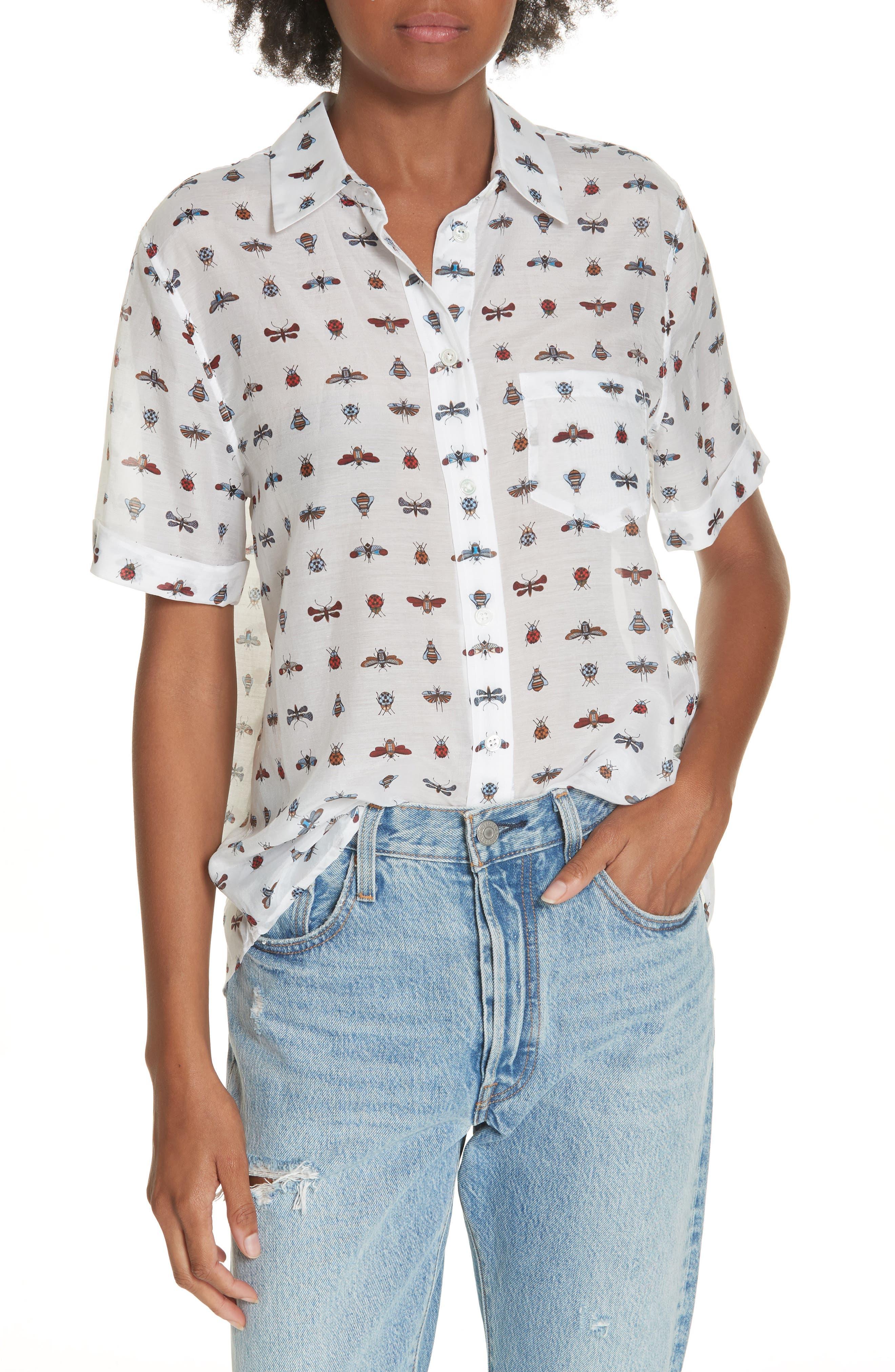 Elley Cotton & Silk Shirt,                         Main,                         color, 119