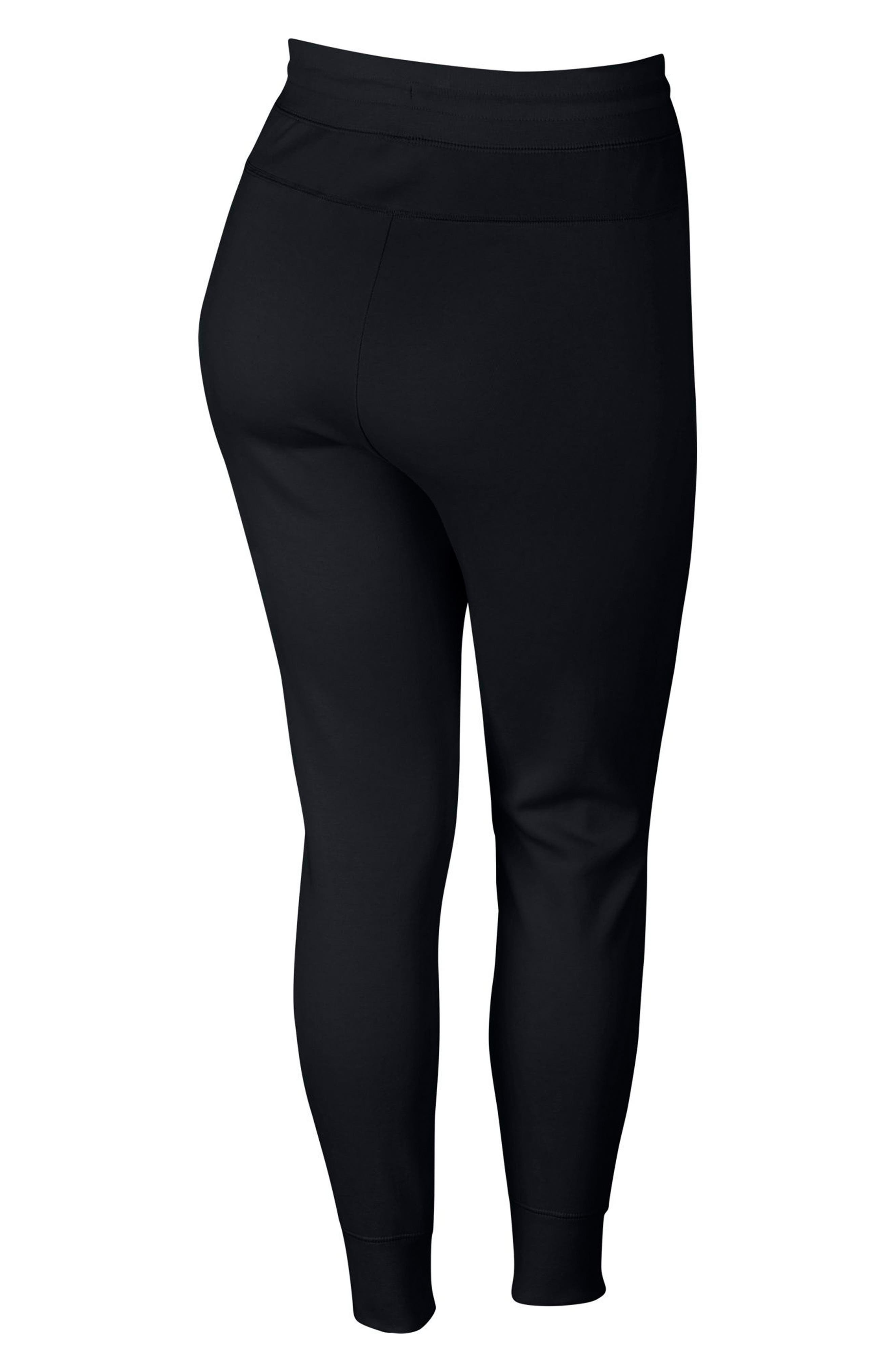 Sportswear High Rise Tech Fleece Jogger Pants,                             Alternate thumbnail 8, color,                             BLACK/ BLACK/ WHITE