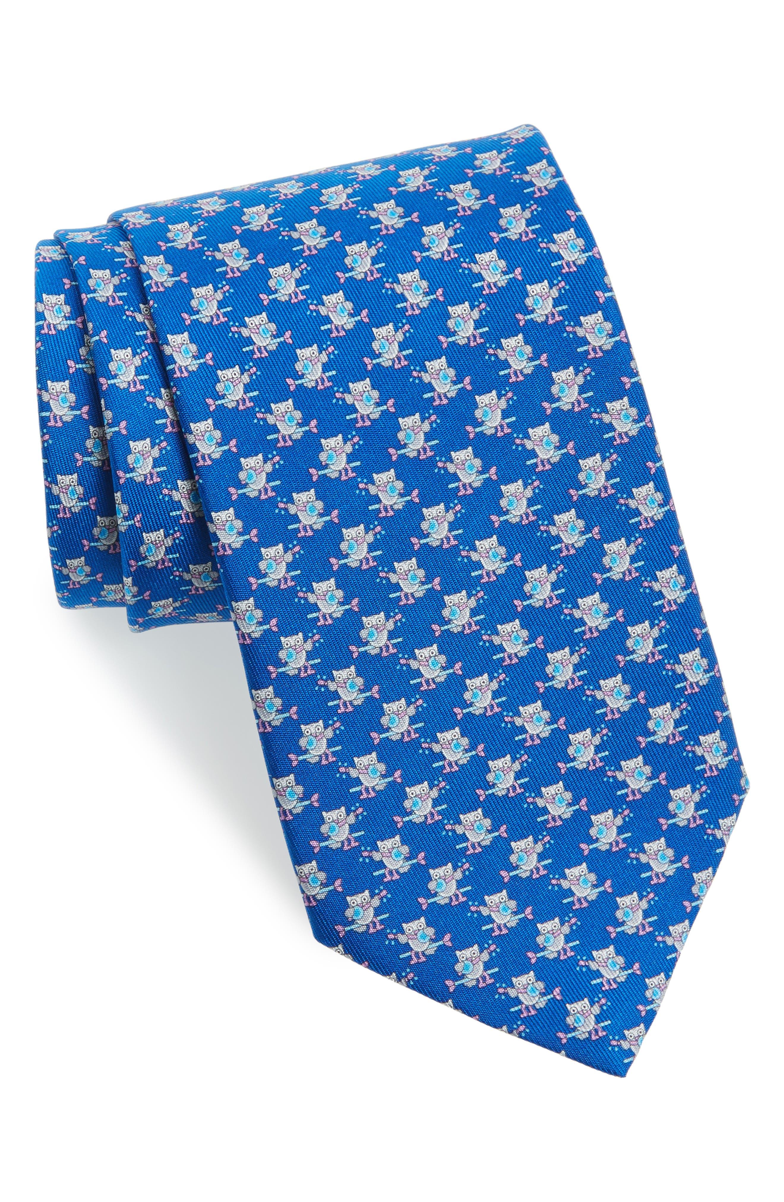 Owl Print Silk Tie,                         Main,                         color, 494