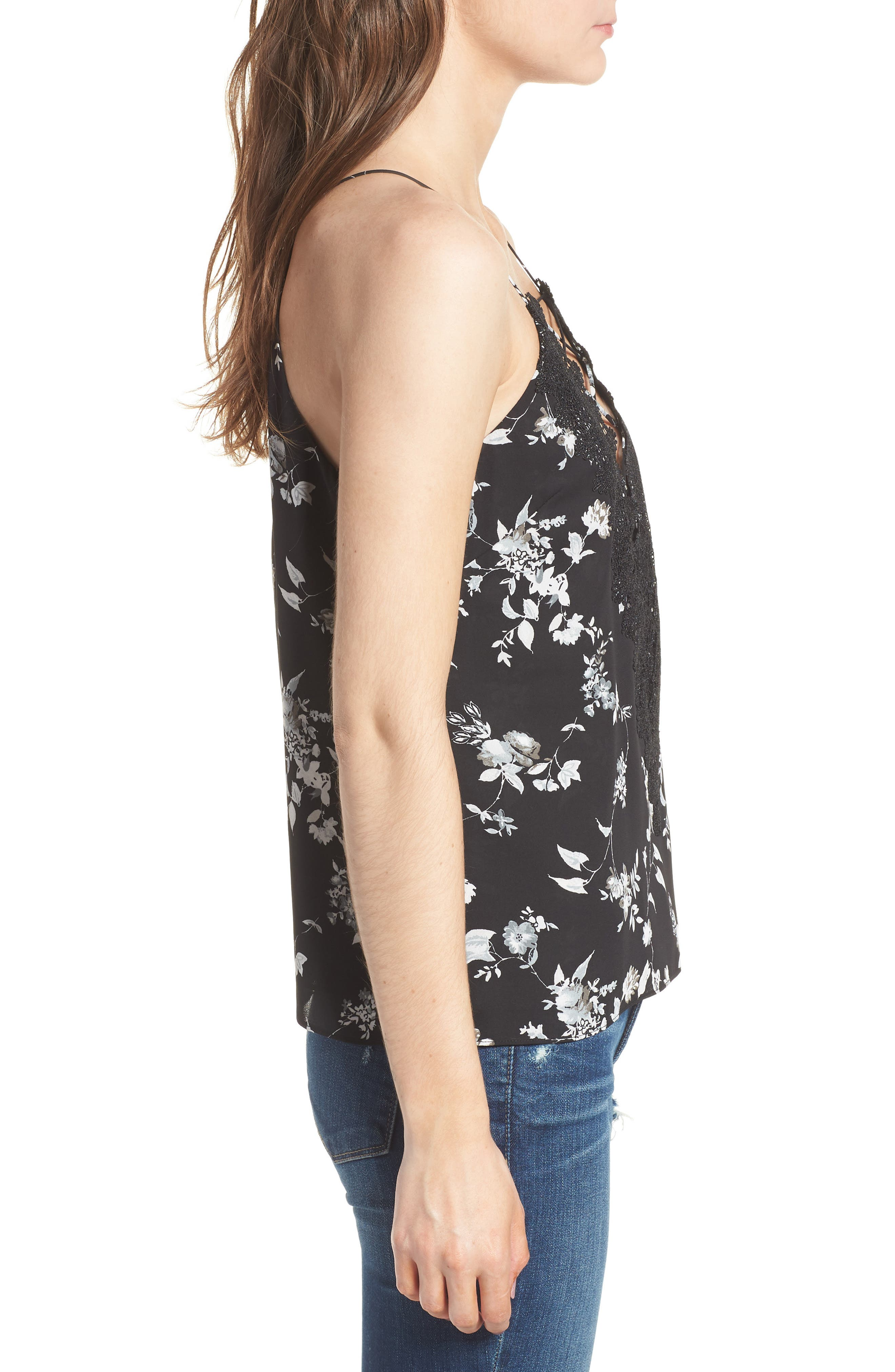 Posie Strappy Camisole,                             Alternate thumbnail 3, color,                             BLACK FLORAL