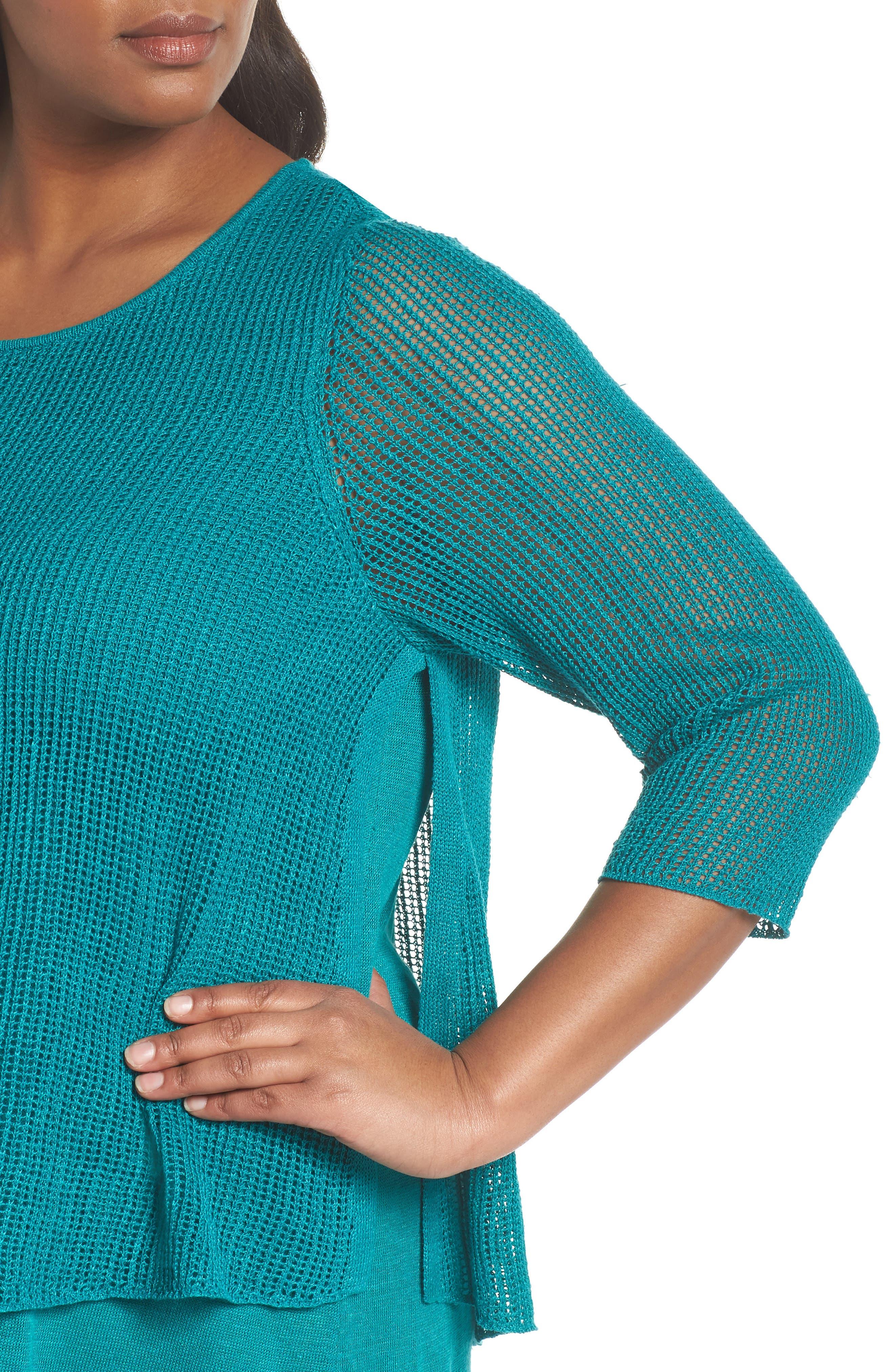 Layered Organic Linen Tunic Sweater,                             Alternate thumbnail 13, color,