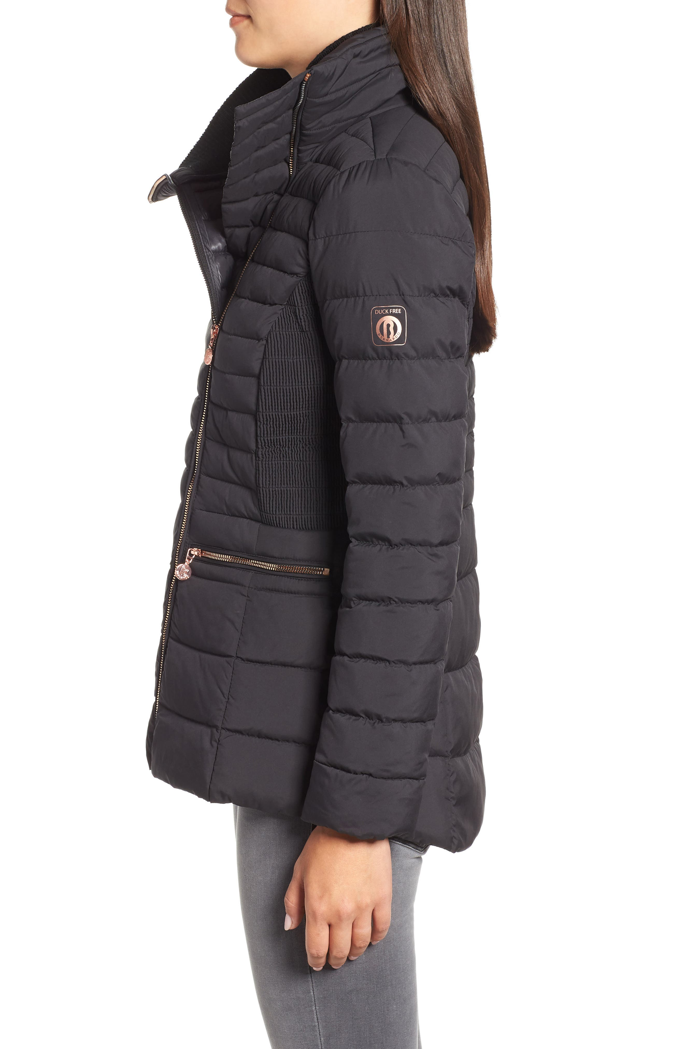Asymmetrical Water Resistant Quilted Jacket,                             Alternate thumbnail 3, color,                             001