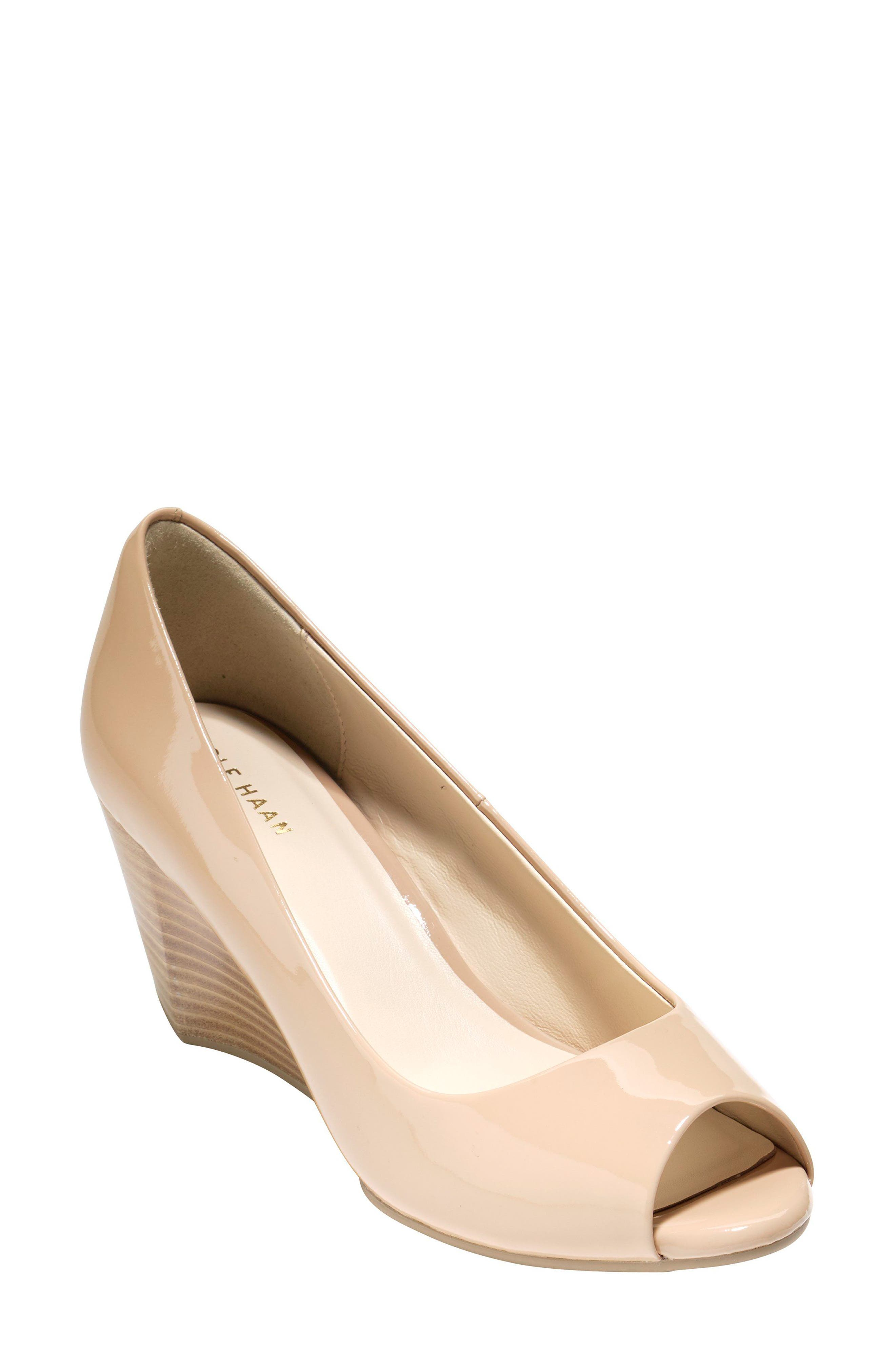 Sadie Open Toe Wedge Pump,                             Alternate thumbnail 3, color,                             NUDE PATENT LEATHER