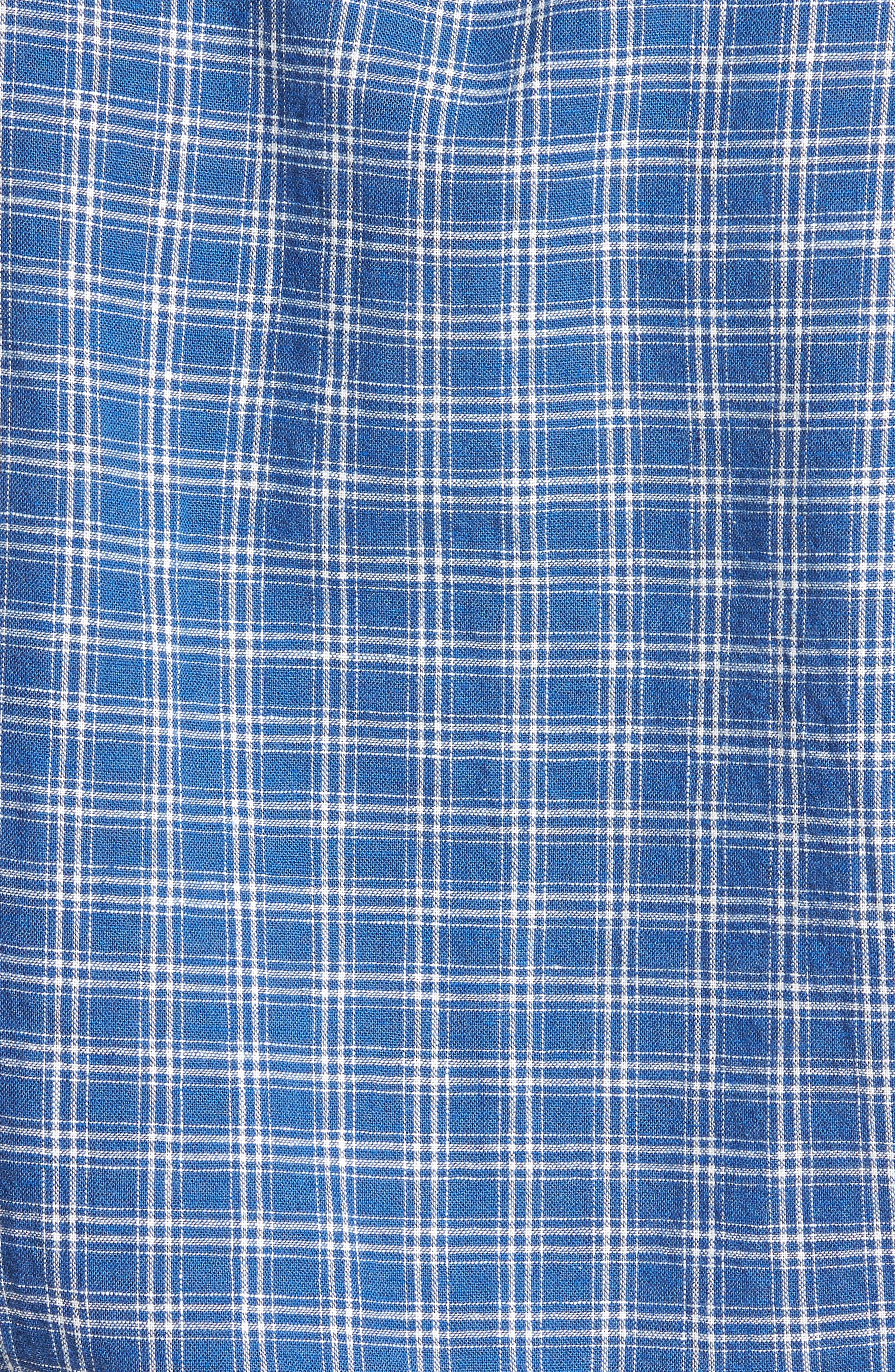 Ivy Trim Fit Check Sport Shirt,                             Alternate thumbnail 5, color,