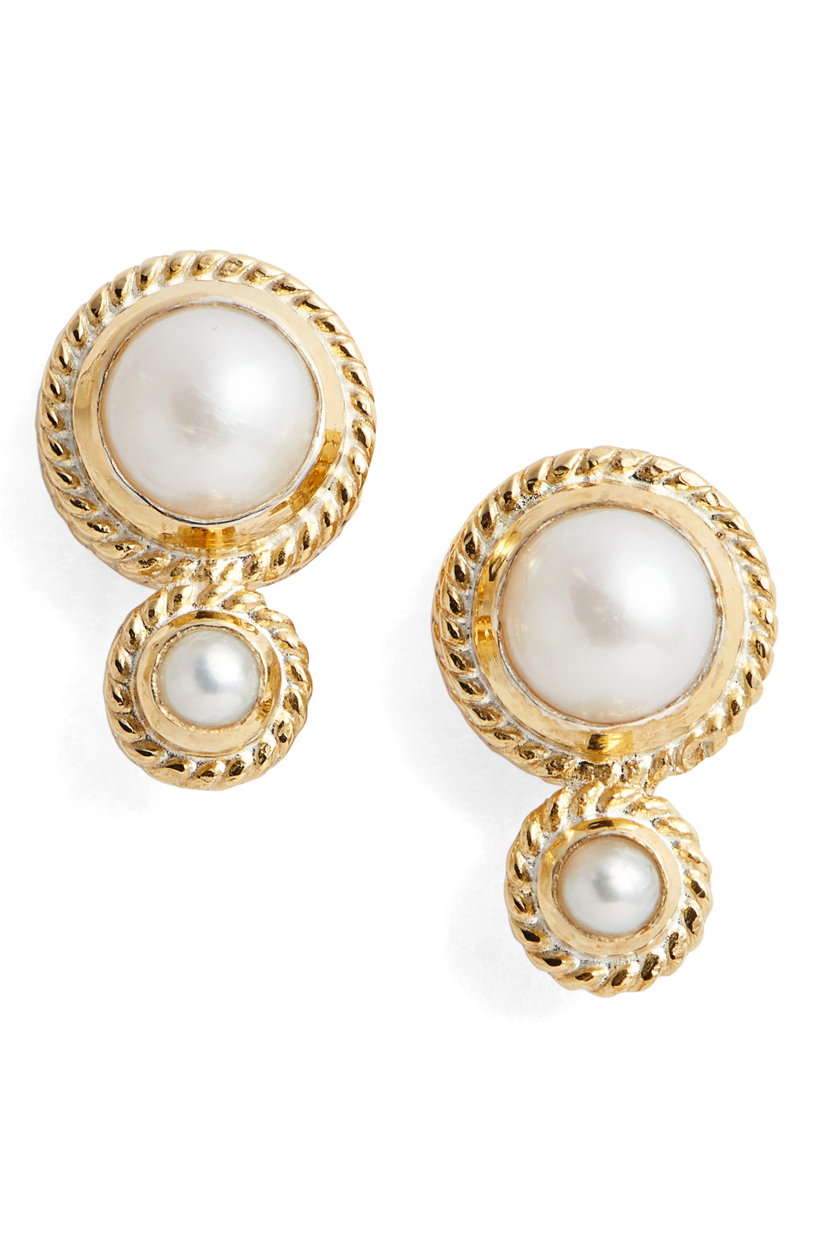 Pearl Double Stud Earrings,                             Main thumbnail 1, color,                             710