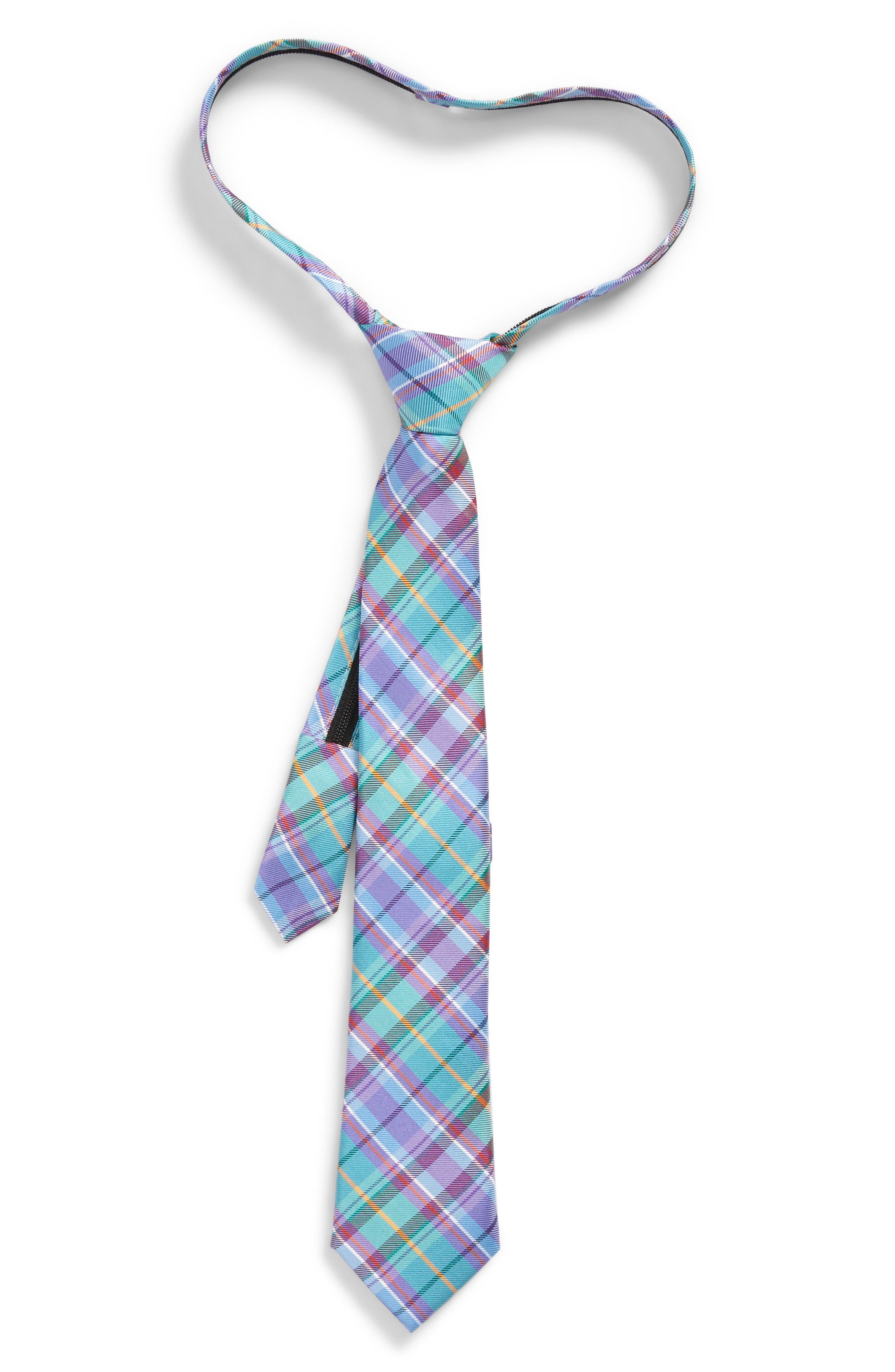Tartan Plaid Silk Zip Tie,                         Main,                         color, 445