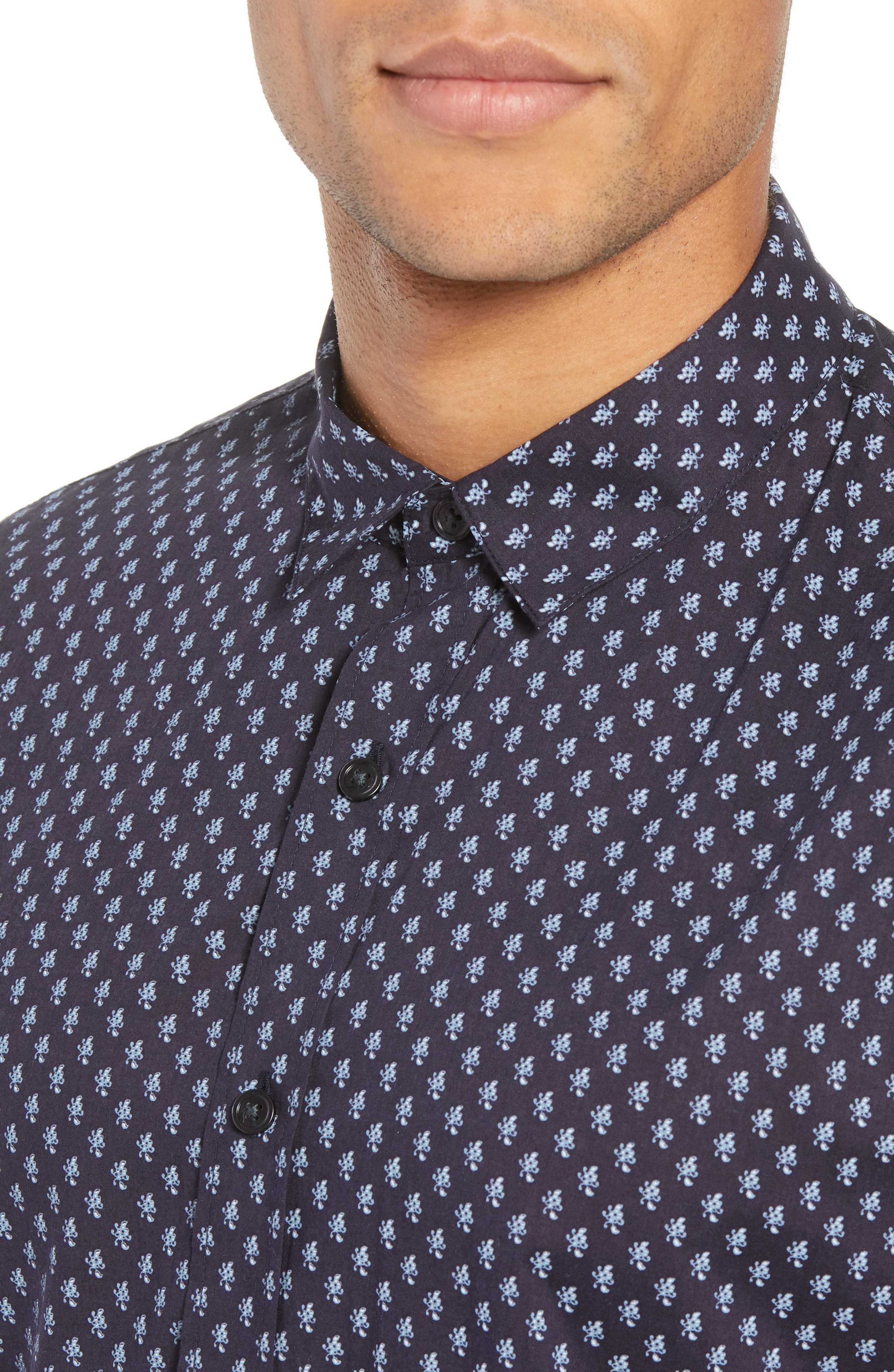 Classic Fit Print Short Sleeve Sport Shirt,                             Alternate thumbnail 4, color,                             NEW COASTAL