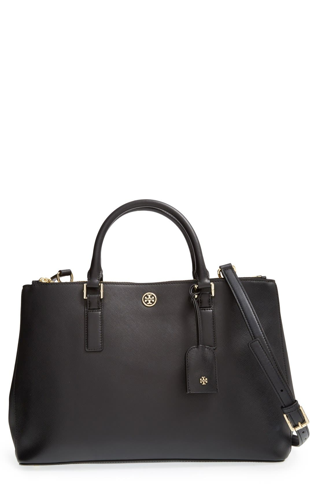 TORY BURCH,                             'Robinson' Double Zip Tote,                             Main thumbnail 1, color,                             001