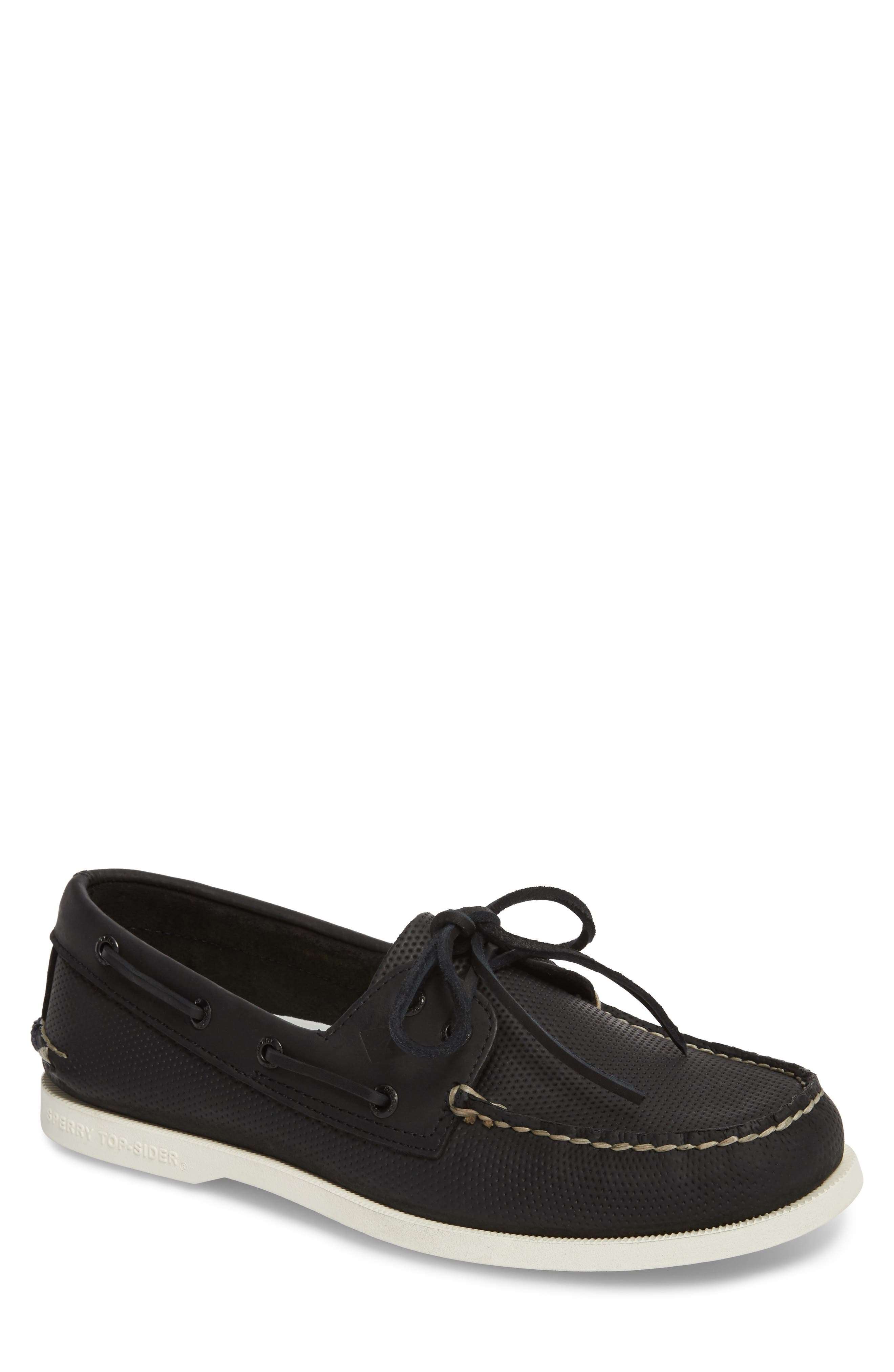AO 2 Eye Perforated Boat Shoe,                         Main,                         color, 001