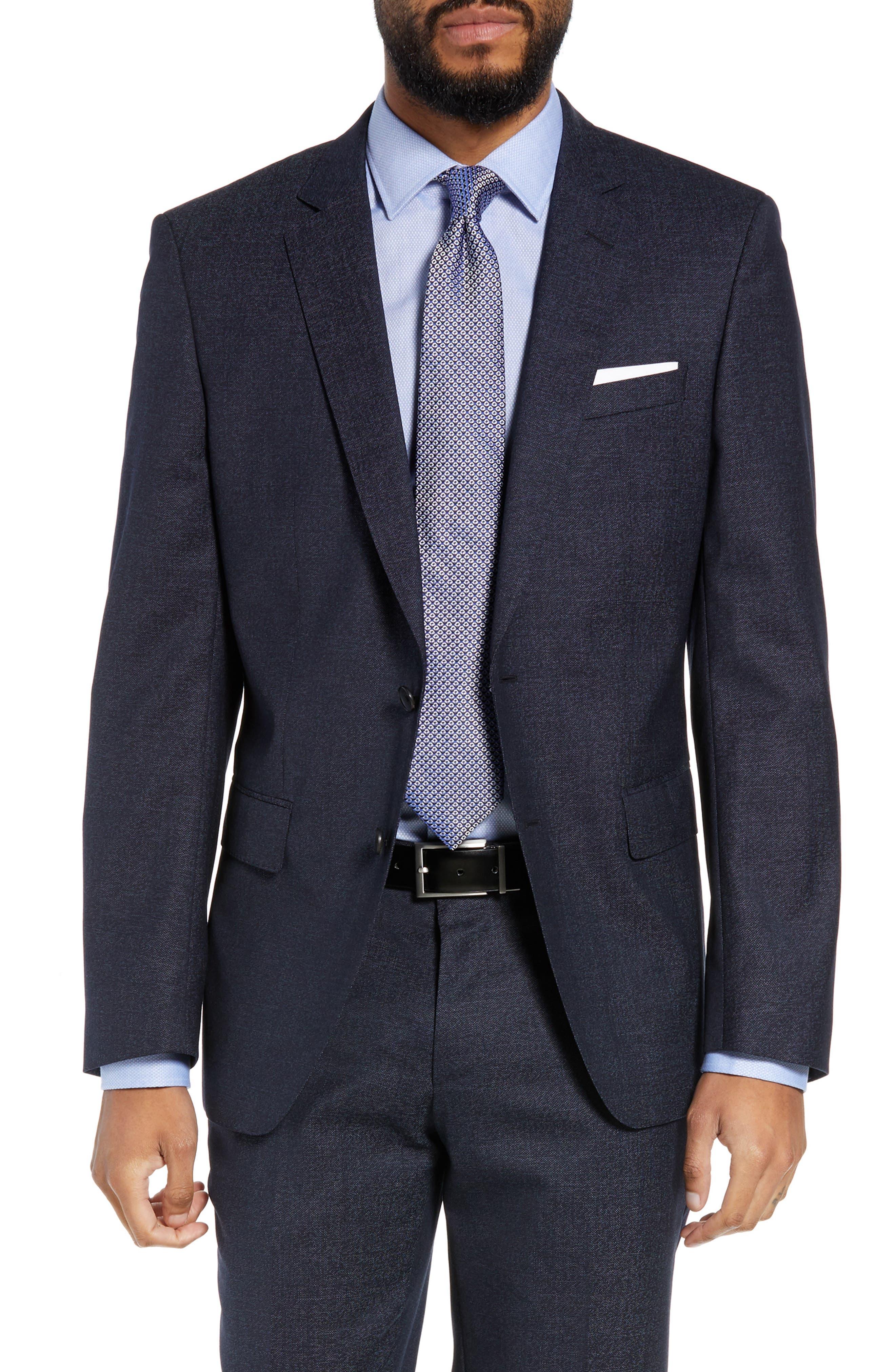 Huge/Genius Trim Fit Solid Wool Suit,                             Alternate thumbnail 5, color,                             OPEN BLUE
