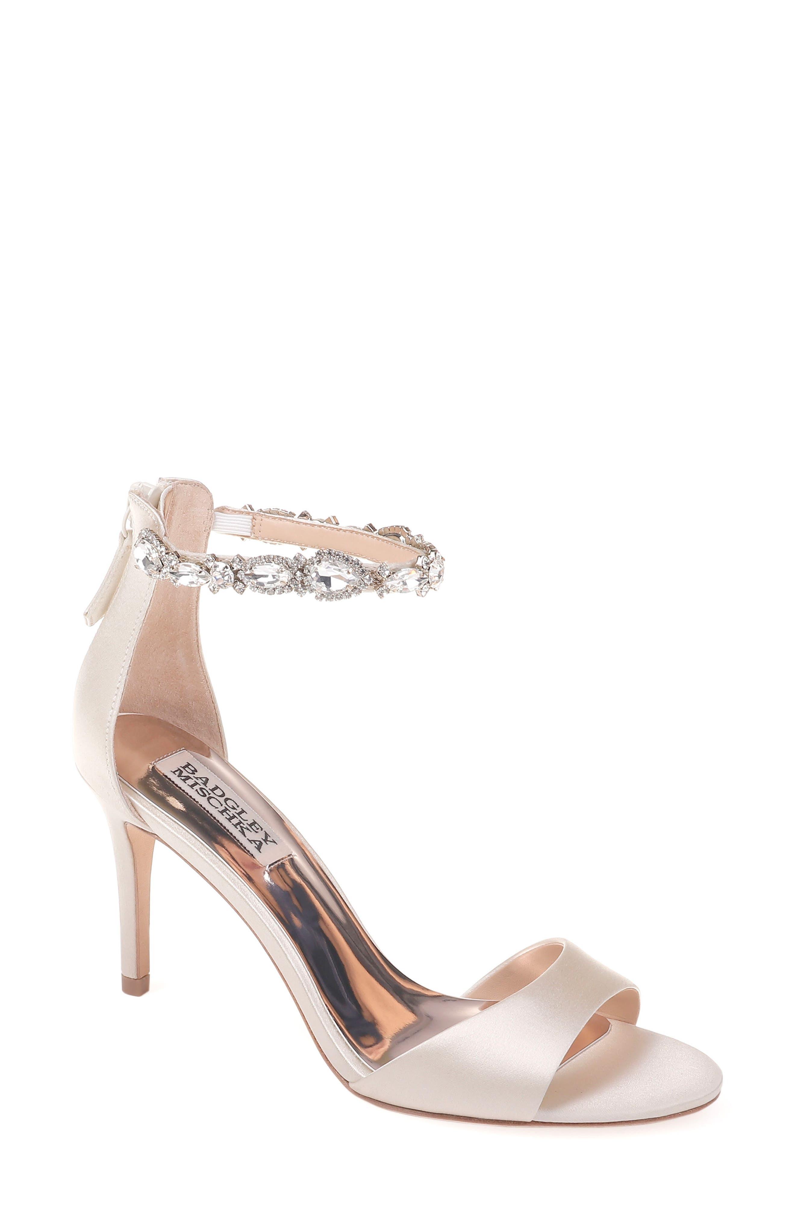 Badgley Mischka Sindy Ankle Strap Sandal,                         Main,                         color, IVORY SATIN