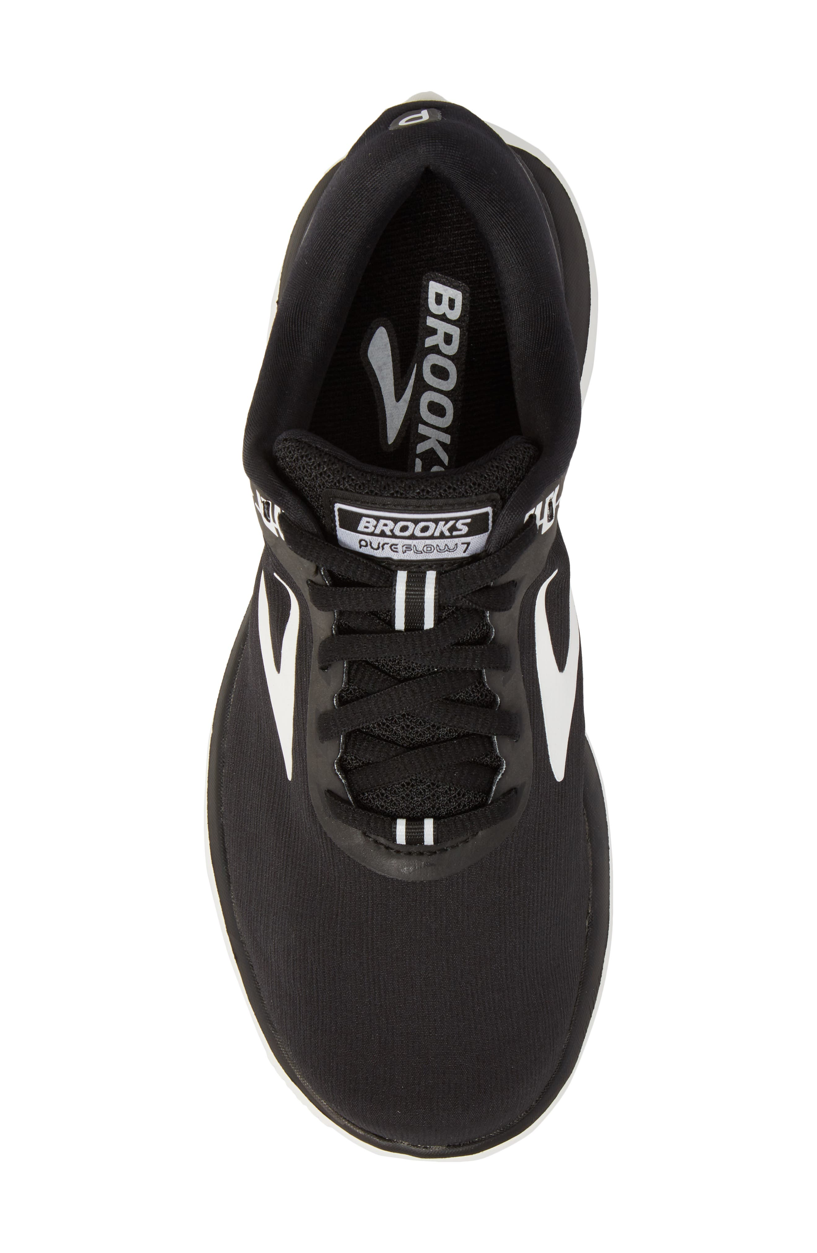PureFlow 7 Running Shoe,                             Alternate thumbnail 5, color,                             BLACK/ WHITE