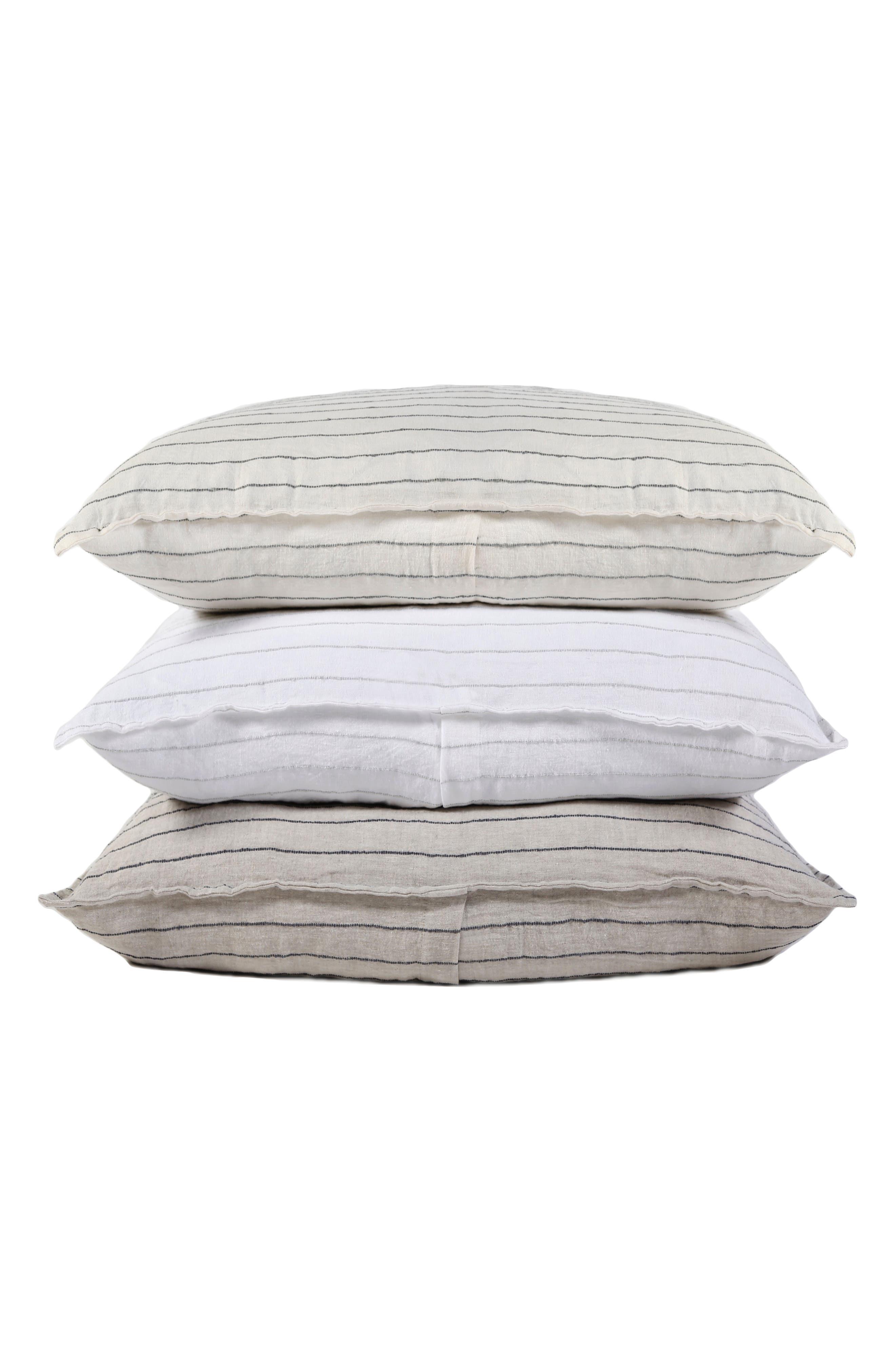 Blake Big Linen Accent Pillow,                             Alternate thumbnail 3, color,                             WHITE/ OCEAN
