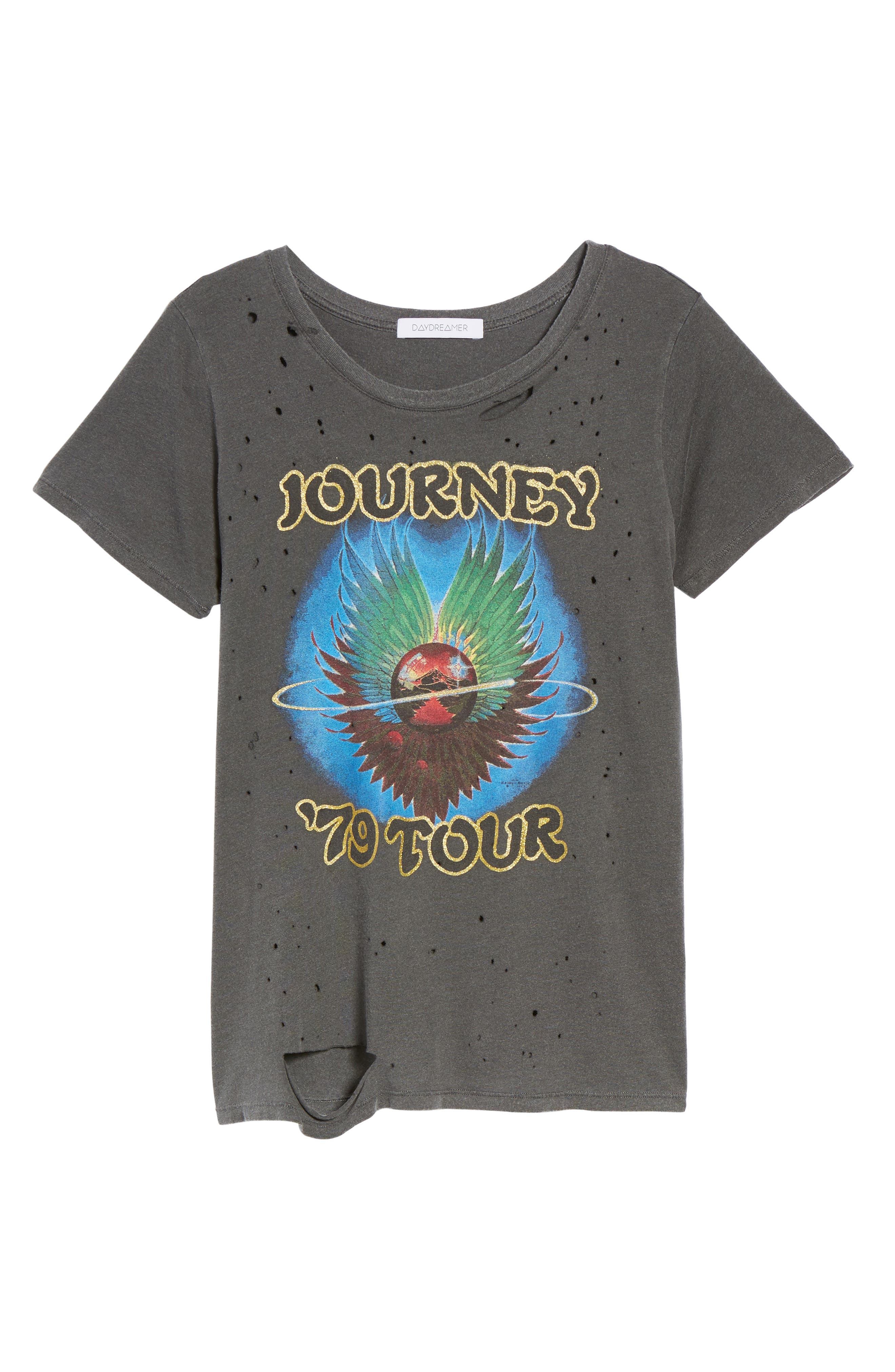 Journey Ripped Graphic Tee,                             Alternate thumbnail 6, color,                             001