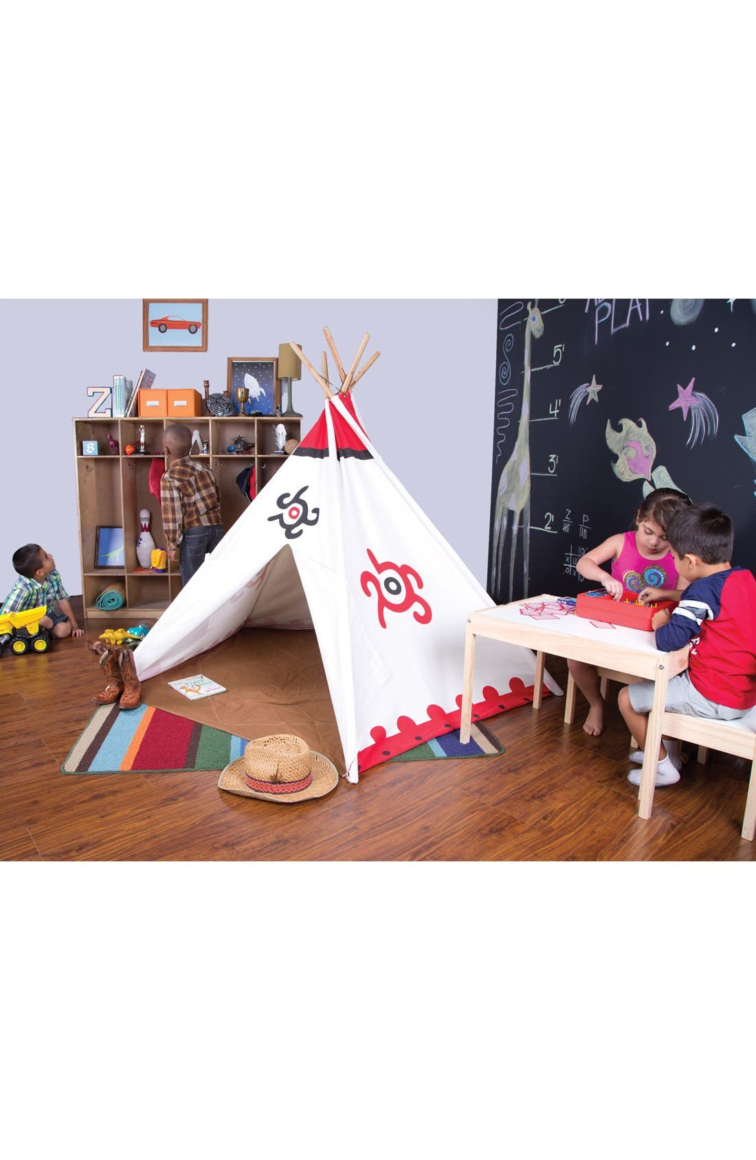Cotton Canvas Teepee,                             Alternate thumbnail 2, color,                             WHITE/ RED