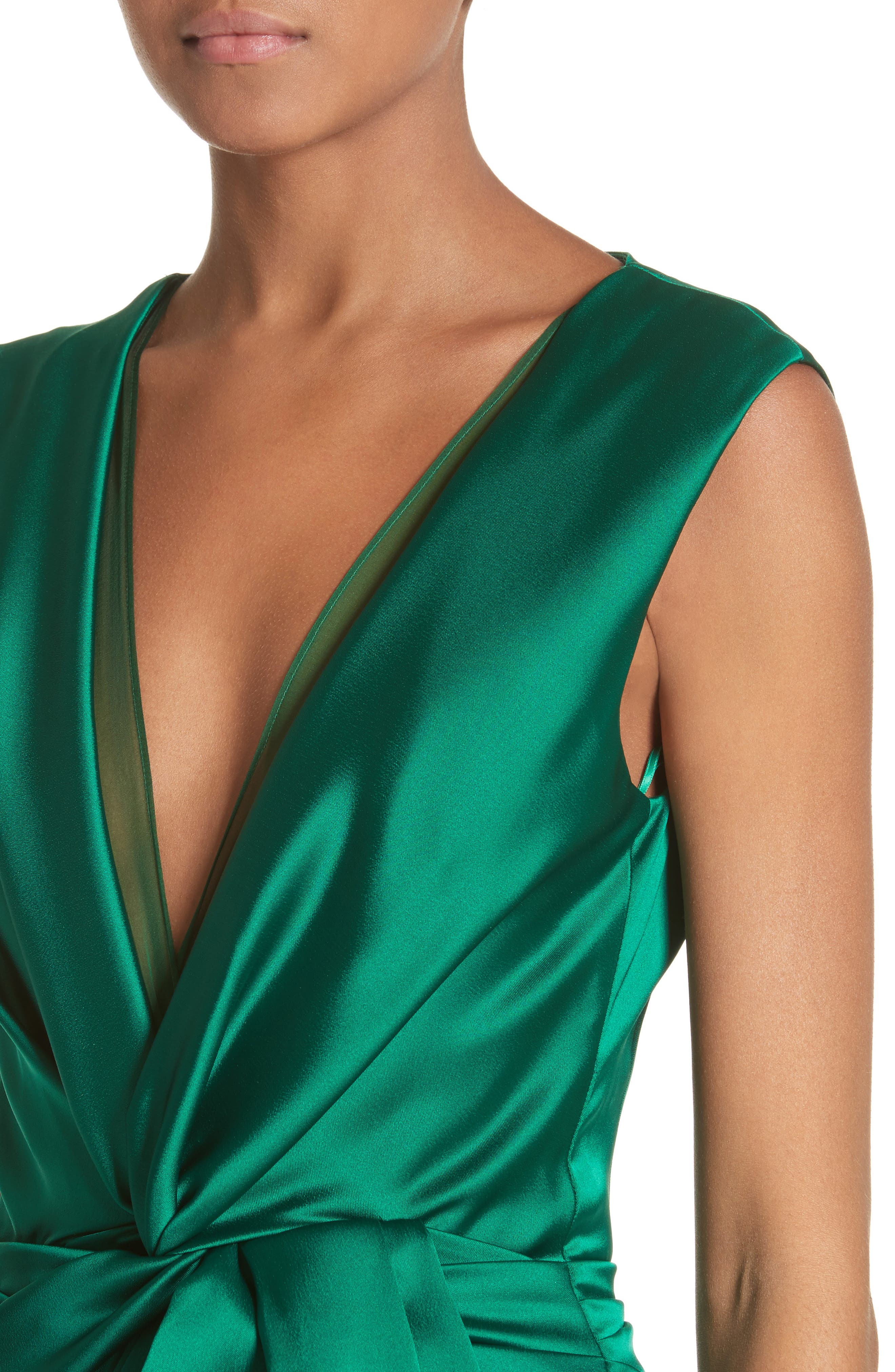 Crepe Satin V-Neck Gown,                             Alternate thumbnail 4, color,                             EMERALD