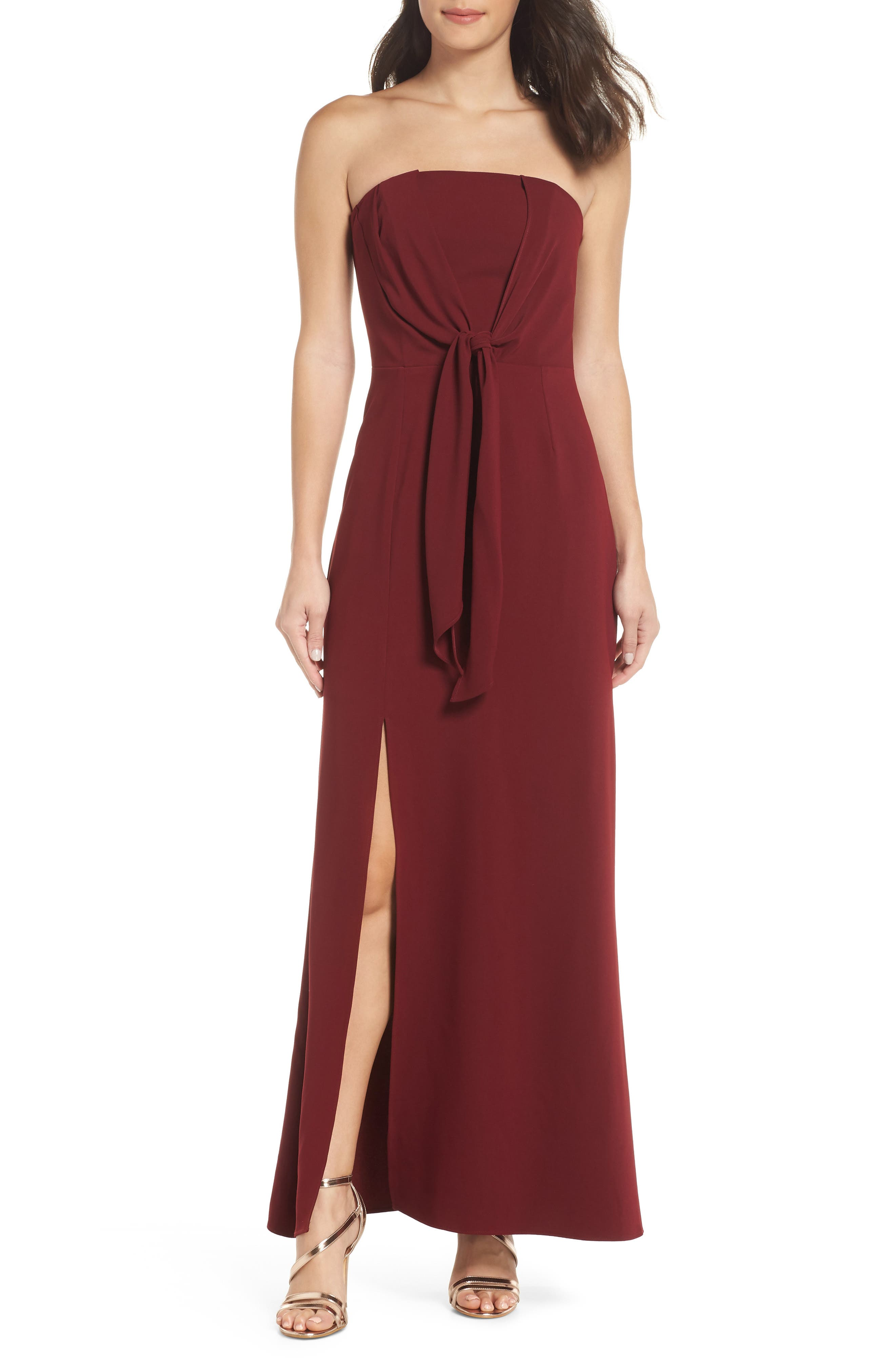 HARLYN Strapless Knot Gown in Burgundy
