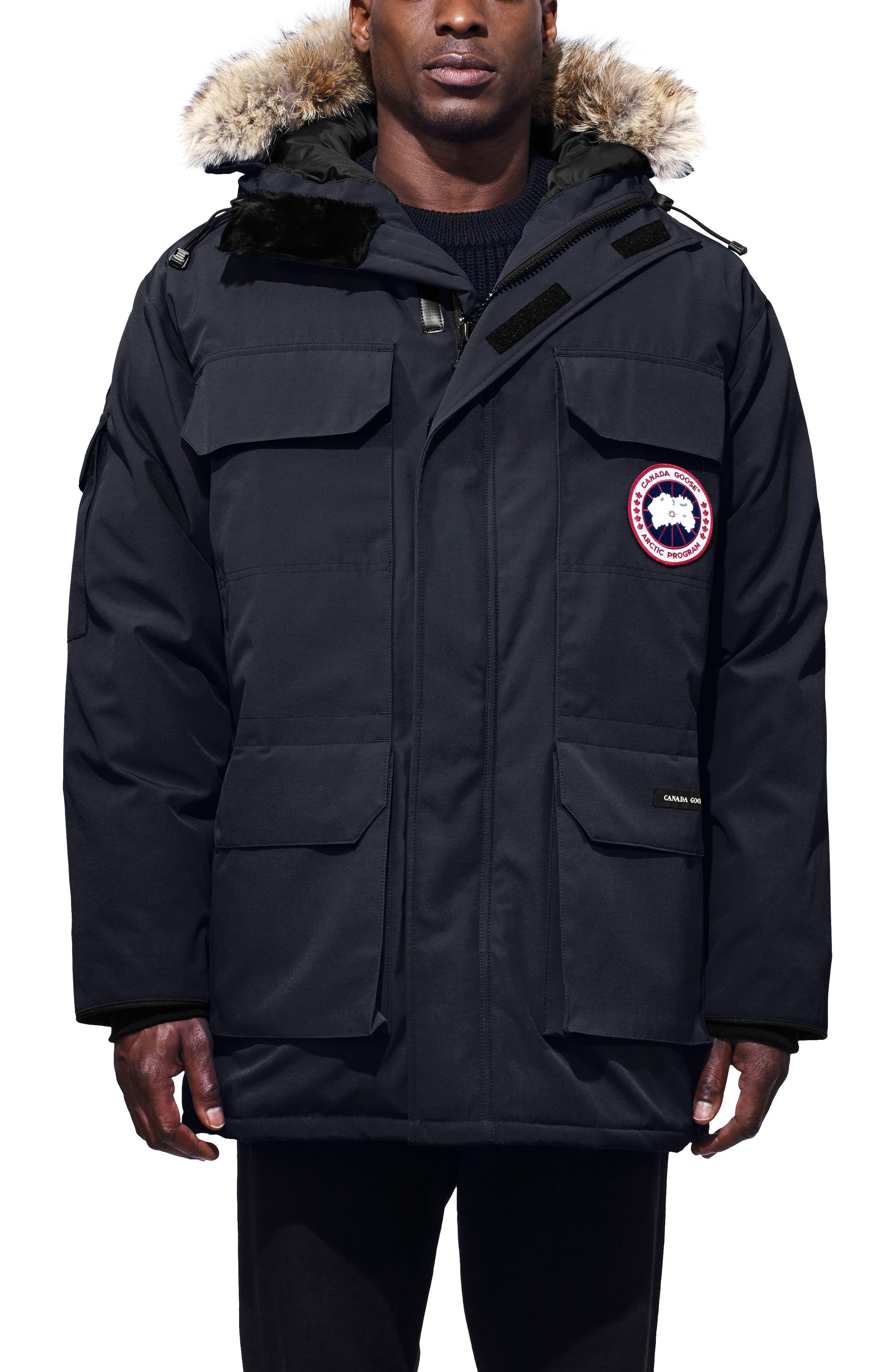 Canada Goose Pbi Expedition Regular Fit Down Parka With Genuine Coyote Fur Trim, Blue