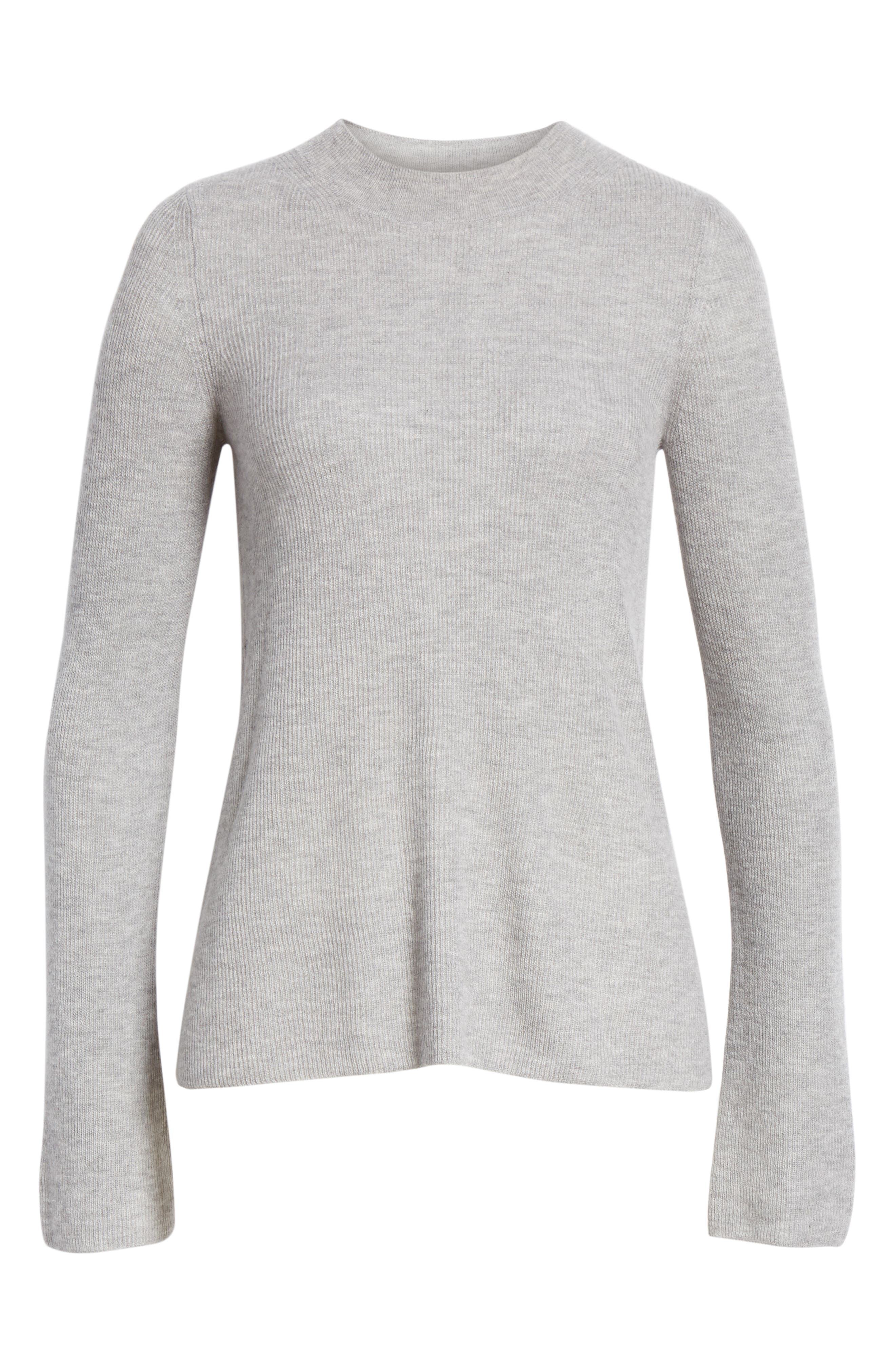 Ribbed Cashmere Sweater,                             Alternate thumbnail 6, color,                             H STEEL