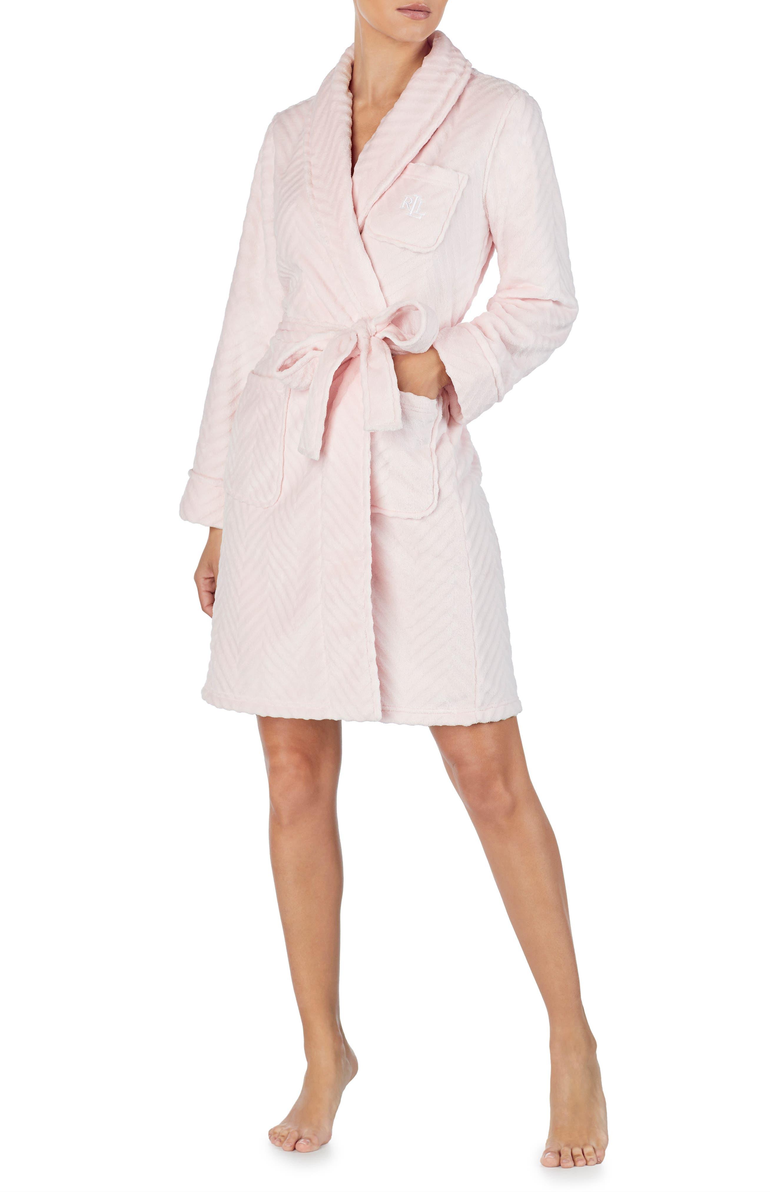 LAUREN RALPH LAUREN Short Fleece Robe in Pink