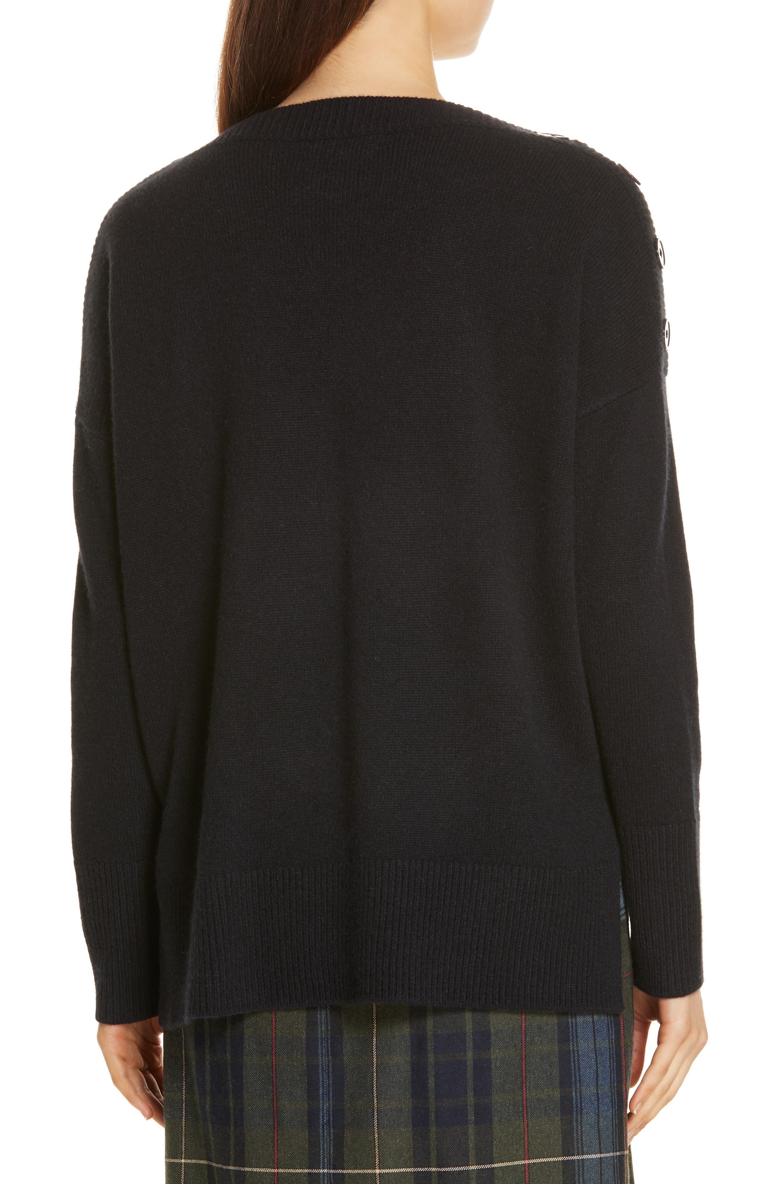 Button Shoulder Cashmere Sweater,                             Alternate thumbnail 2, color,                             BLACK