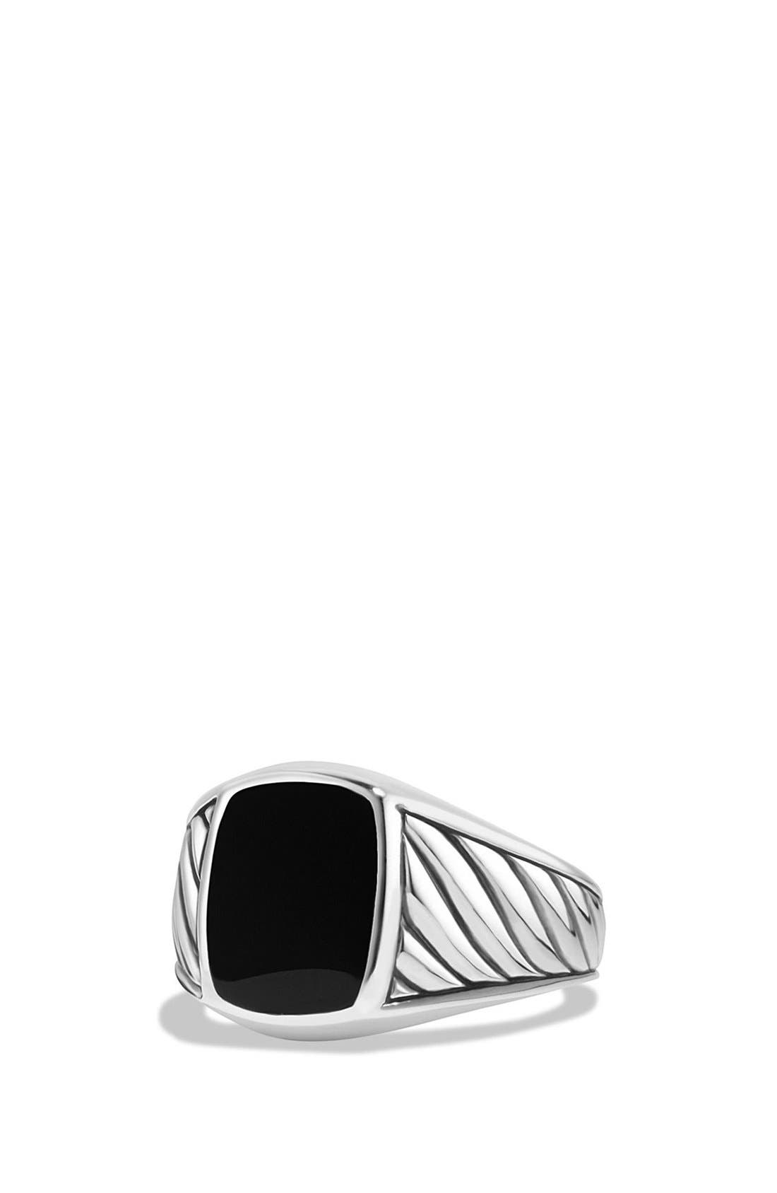 'Cable Classics' Signet Ring,                         Main,                         color, SILVER/ BLACK ONYX