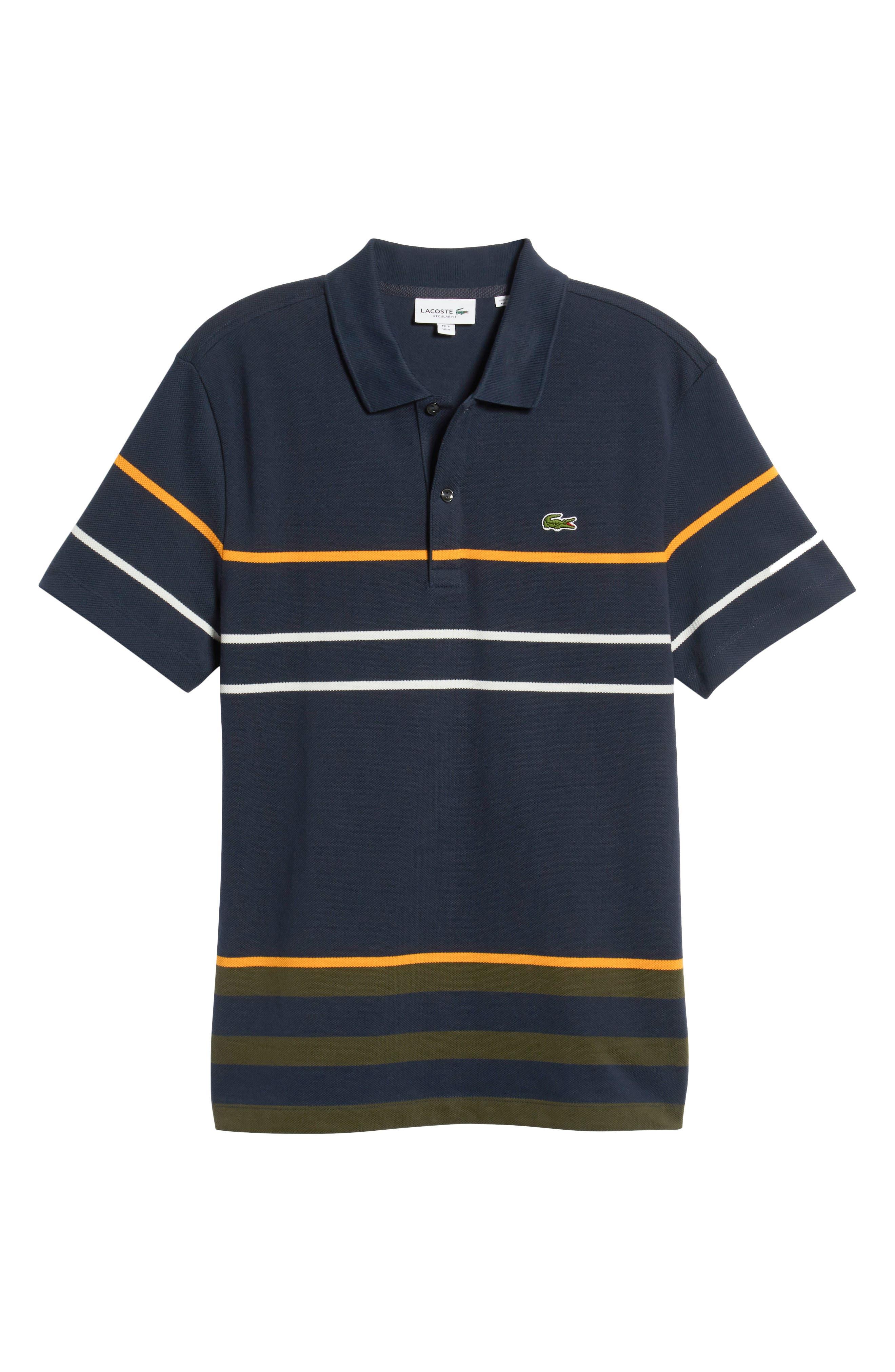 Regular Fit Stripe Cotton Polo,                             Alternate thumbnail 6, color,                             DS1 MERIDIAN BLUE/ BAOBAB-POME