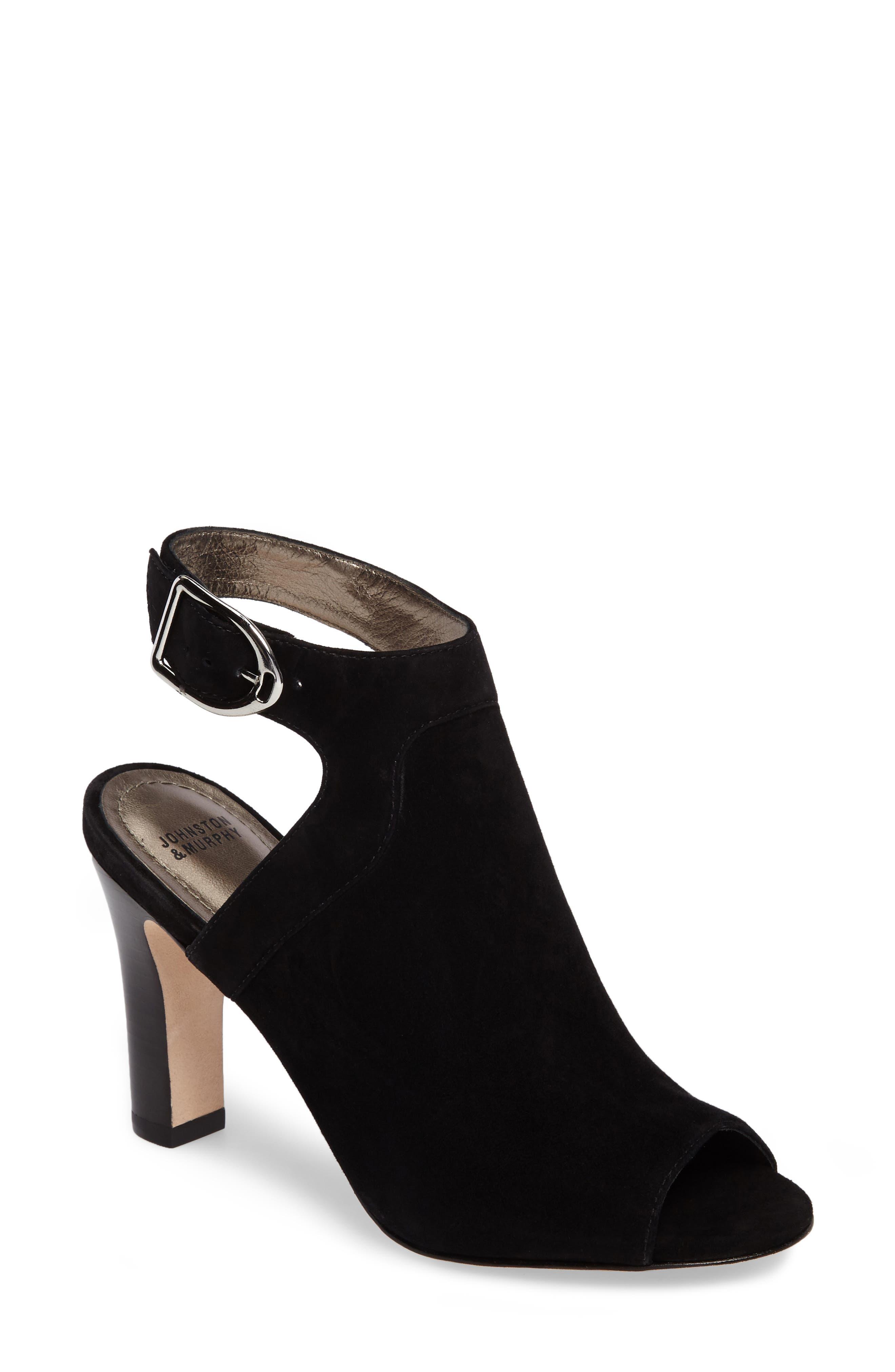 Cassie Peep Toe Sandal,                             Main thumbnail 1, color,                             BLACK LEATHER