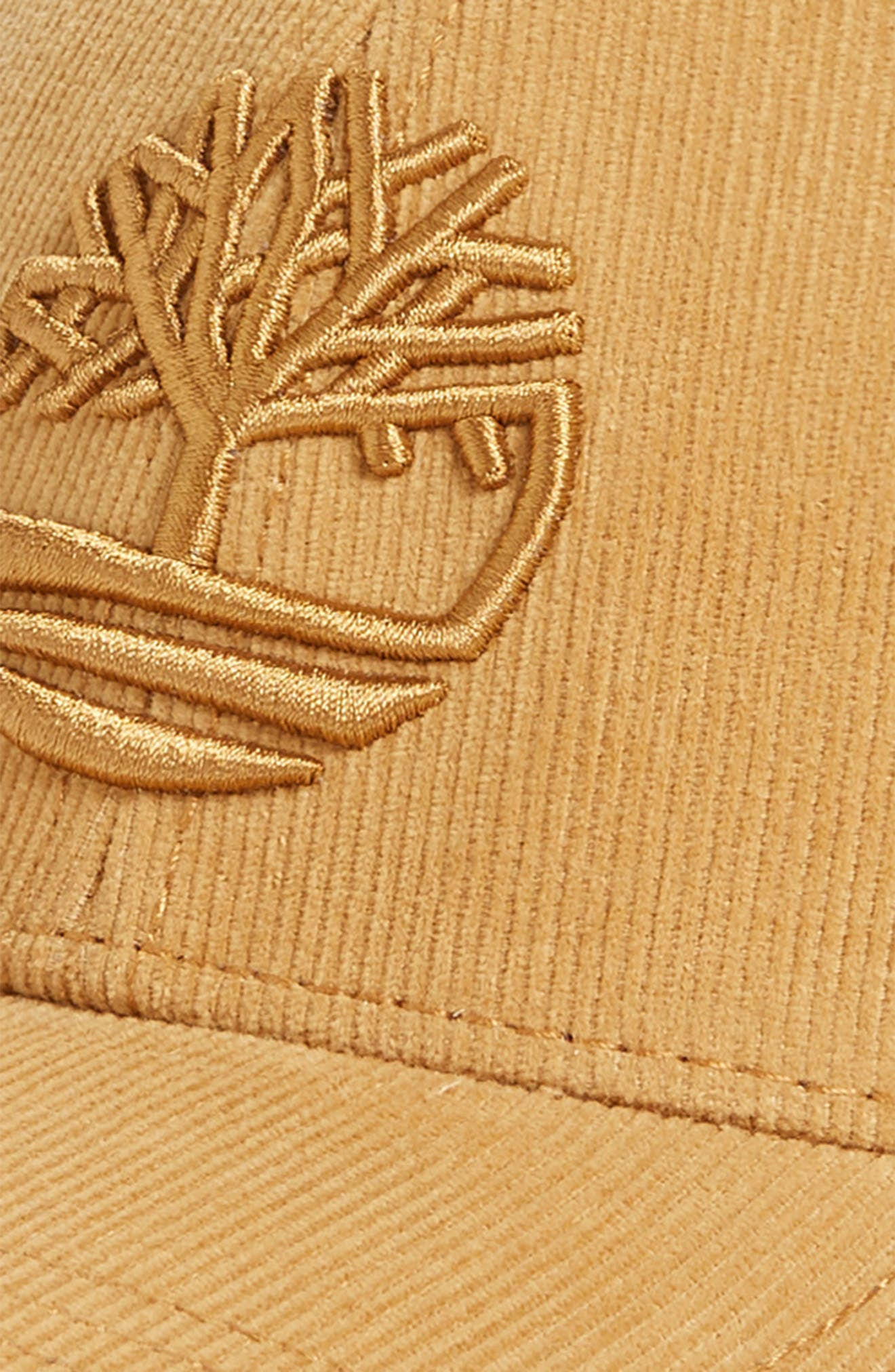 TIMBERLAND,                             Logo Embroidered Corduroy Ball Cap,                             Alternate thumbnail 3, color,                             WHEAT