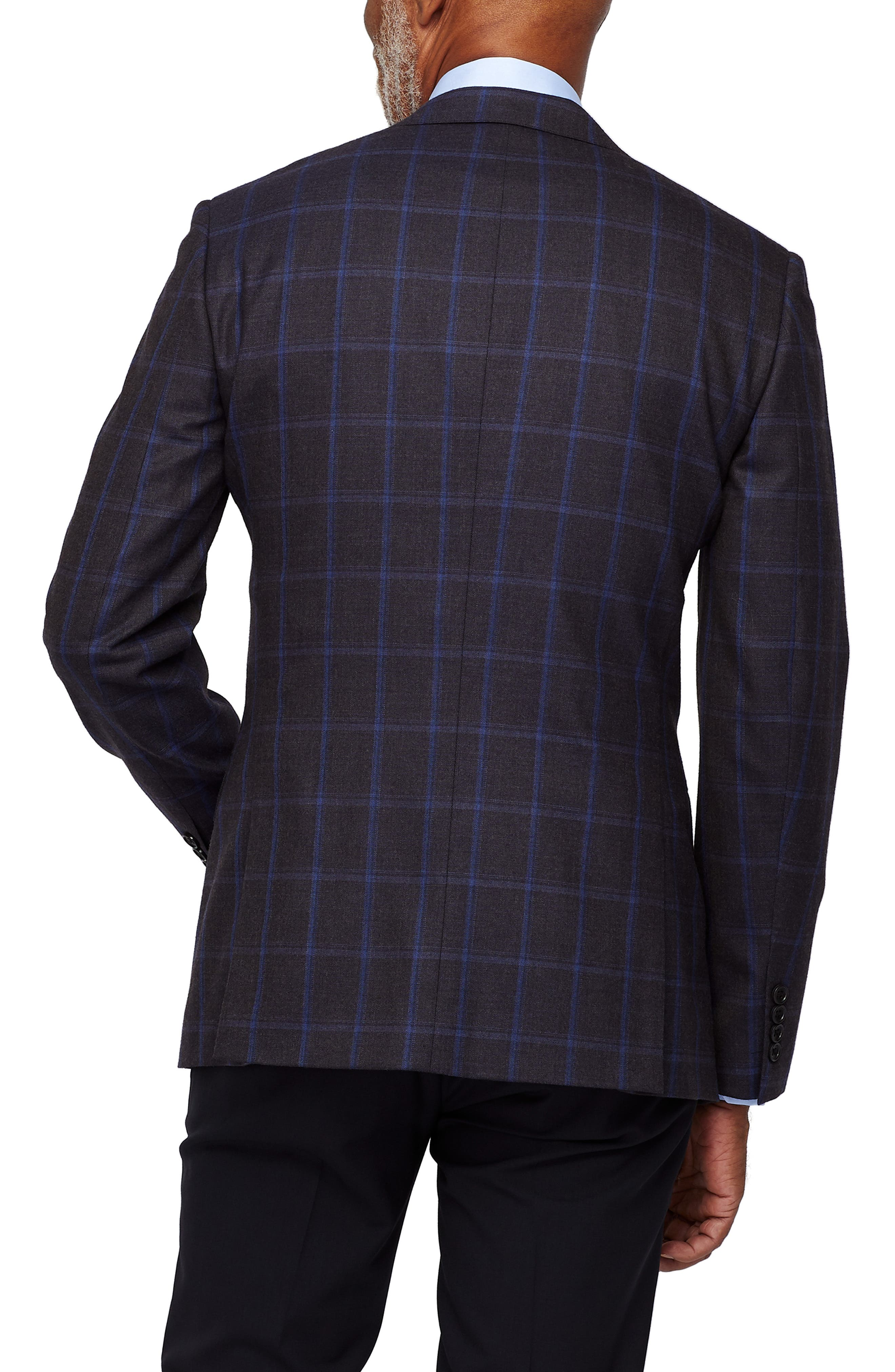 Jetsetter Stretch Wool Blazer,                             Alternate thumbnail 2, color,                             BLUE AND SLATE WINDOWPANE
