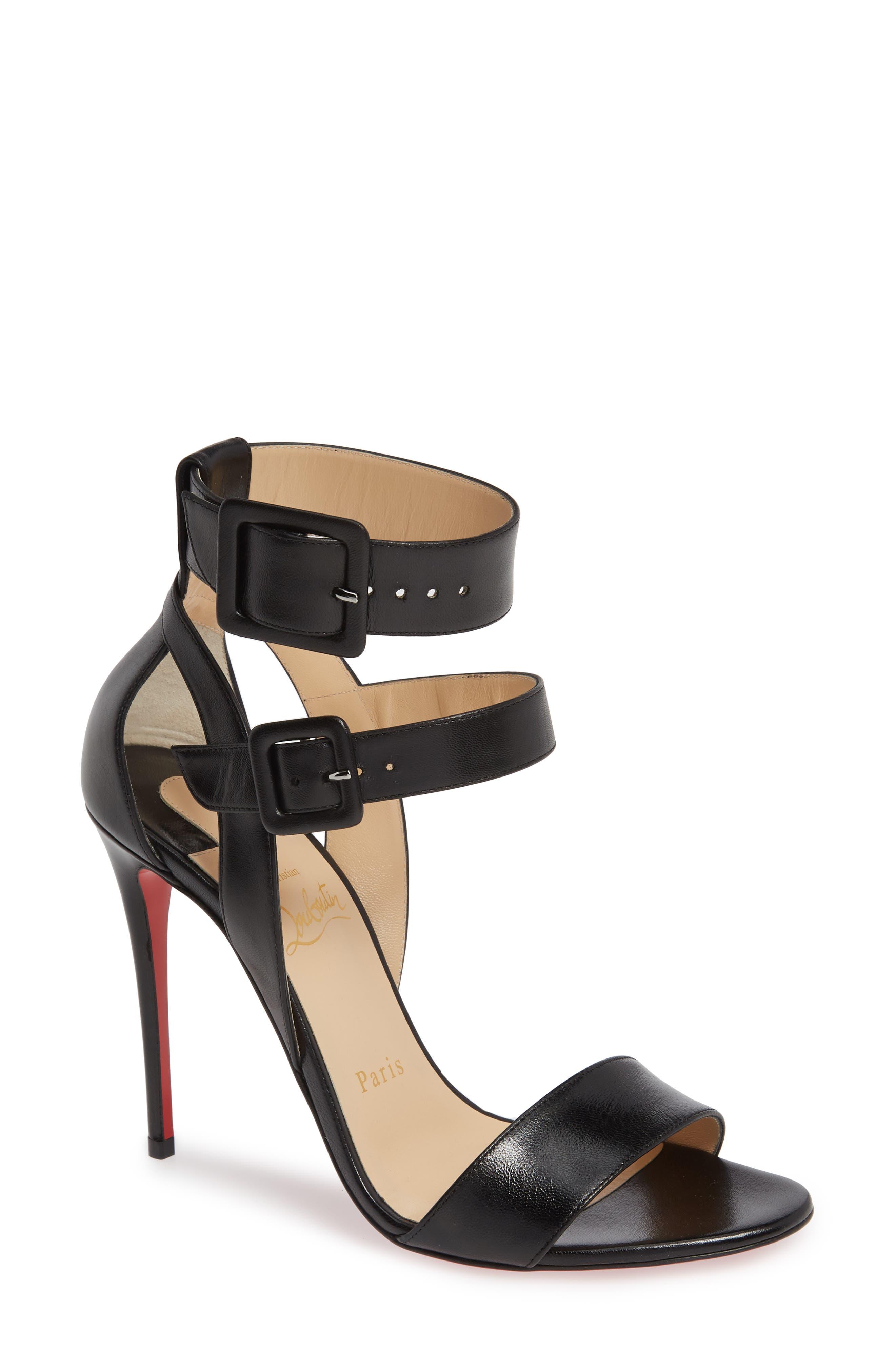 Multipot Buckle Sandal, Main, color, BLACK LEATHER
