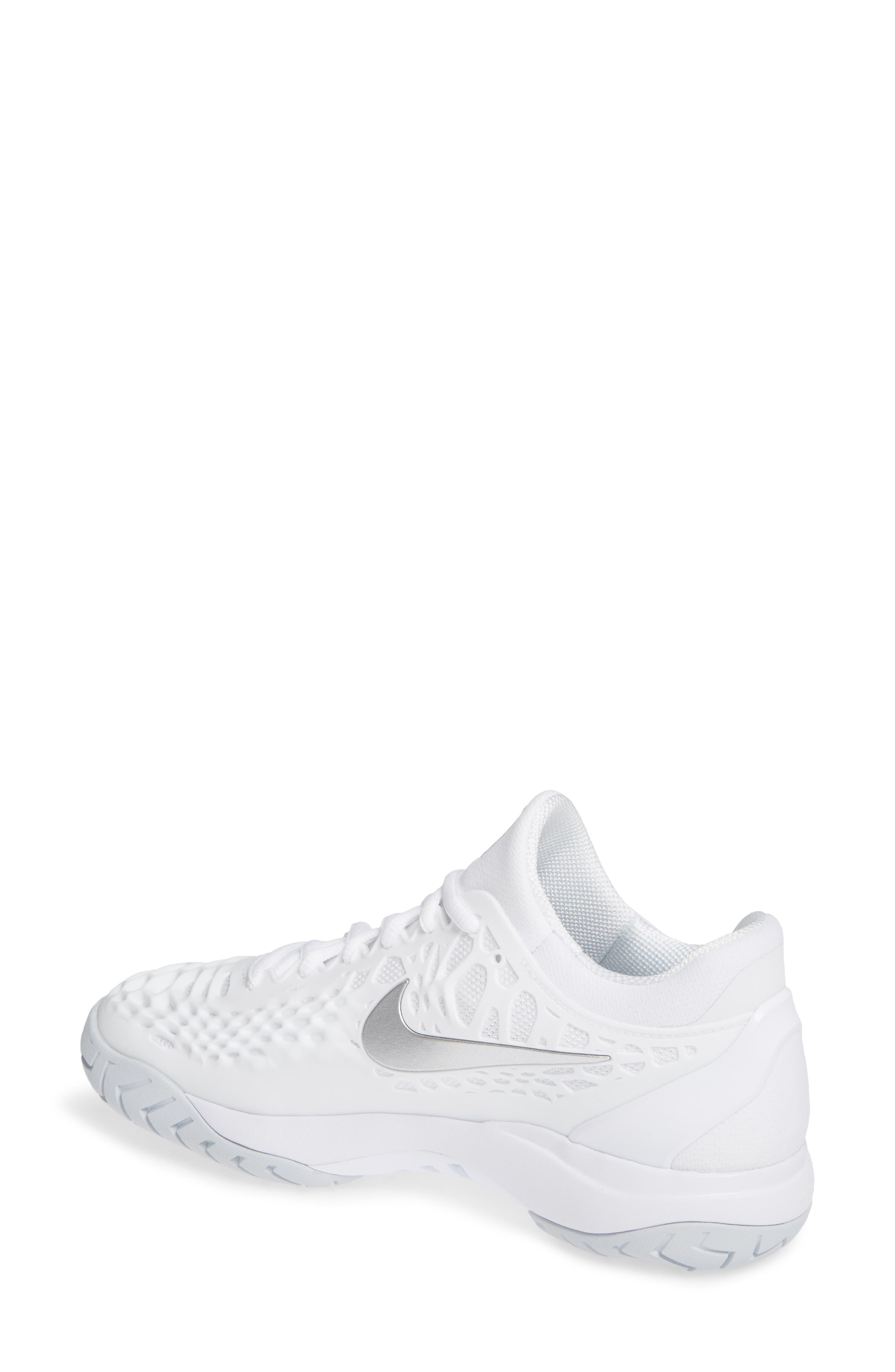 Air Zoom Cage 3 HC Tennis Shoe,                             Alternate thumbnail 2, color,                             WHITE/ SILVER/ PLATINUM