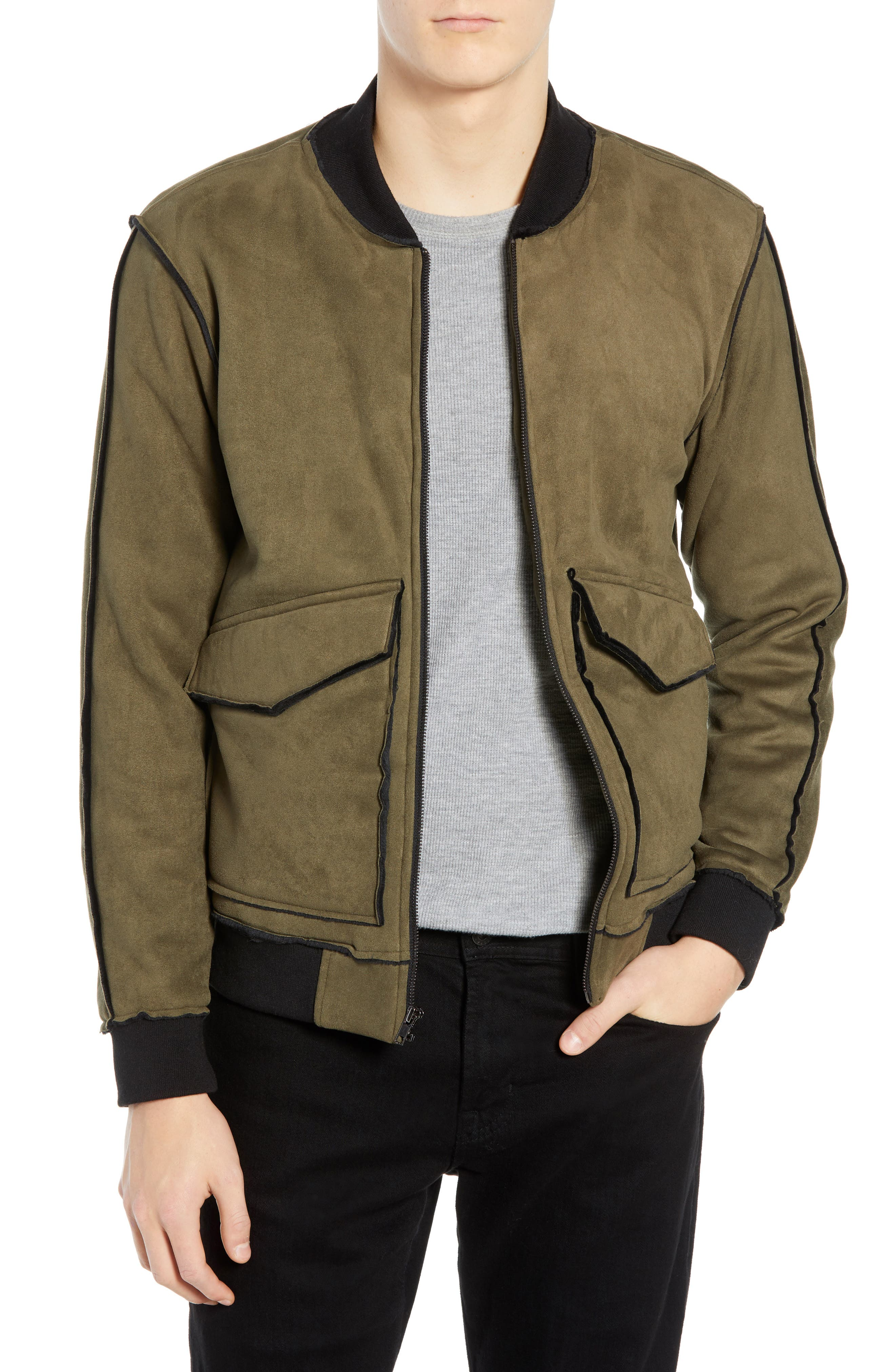 Tunellus Faux Suede Bomber Jacket, Green