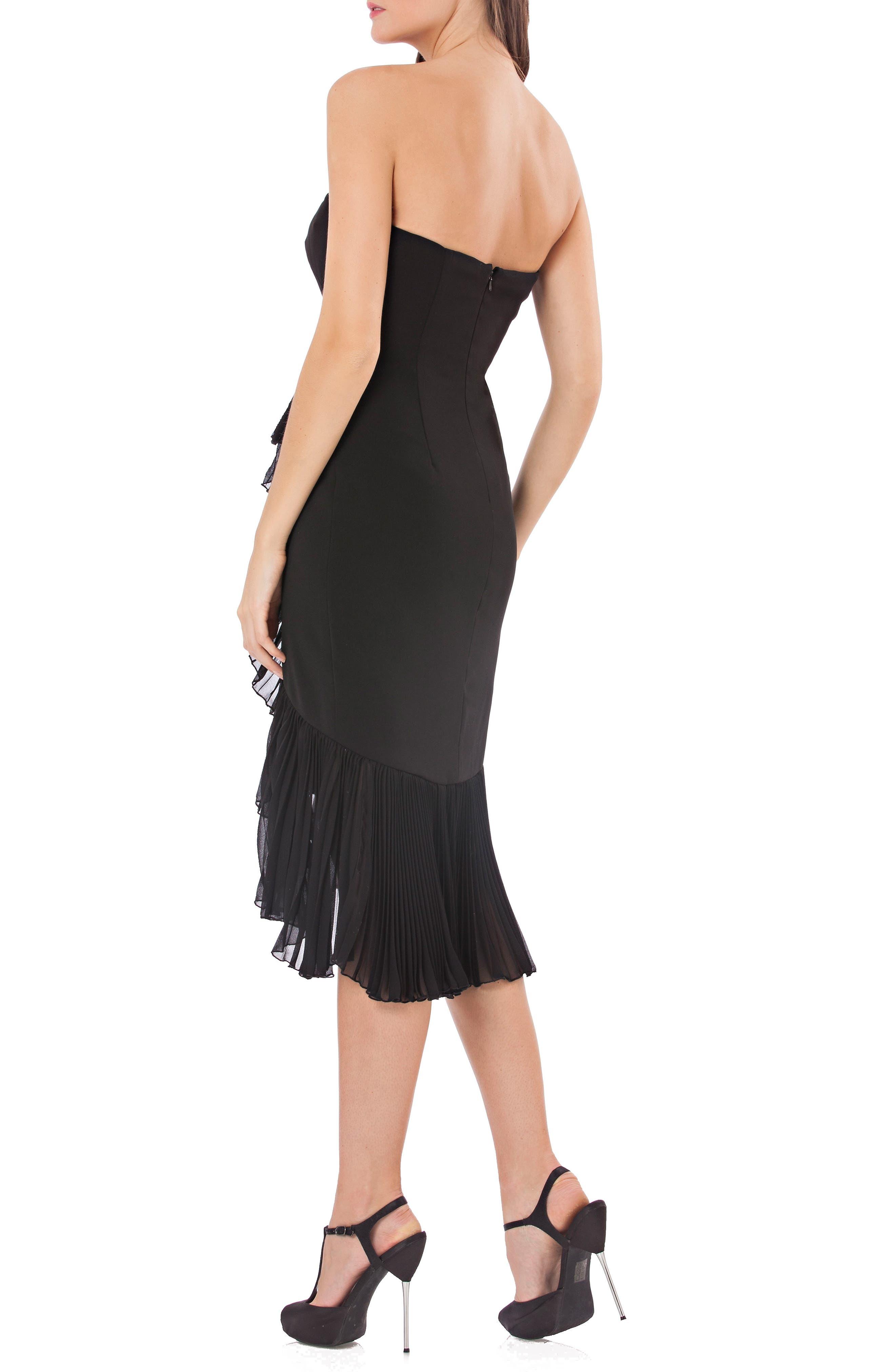 Strapless Ruffle Trim Dress,                             Alternate thumbnail 2, color,                             BLACK
