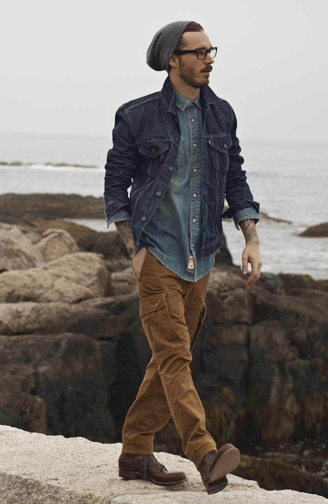 LEVI'S<SUP>®</SUP>,                             'Barstow' Western Denim Shirt,                             Alternate thumbnail 7, color,                             462