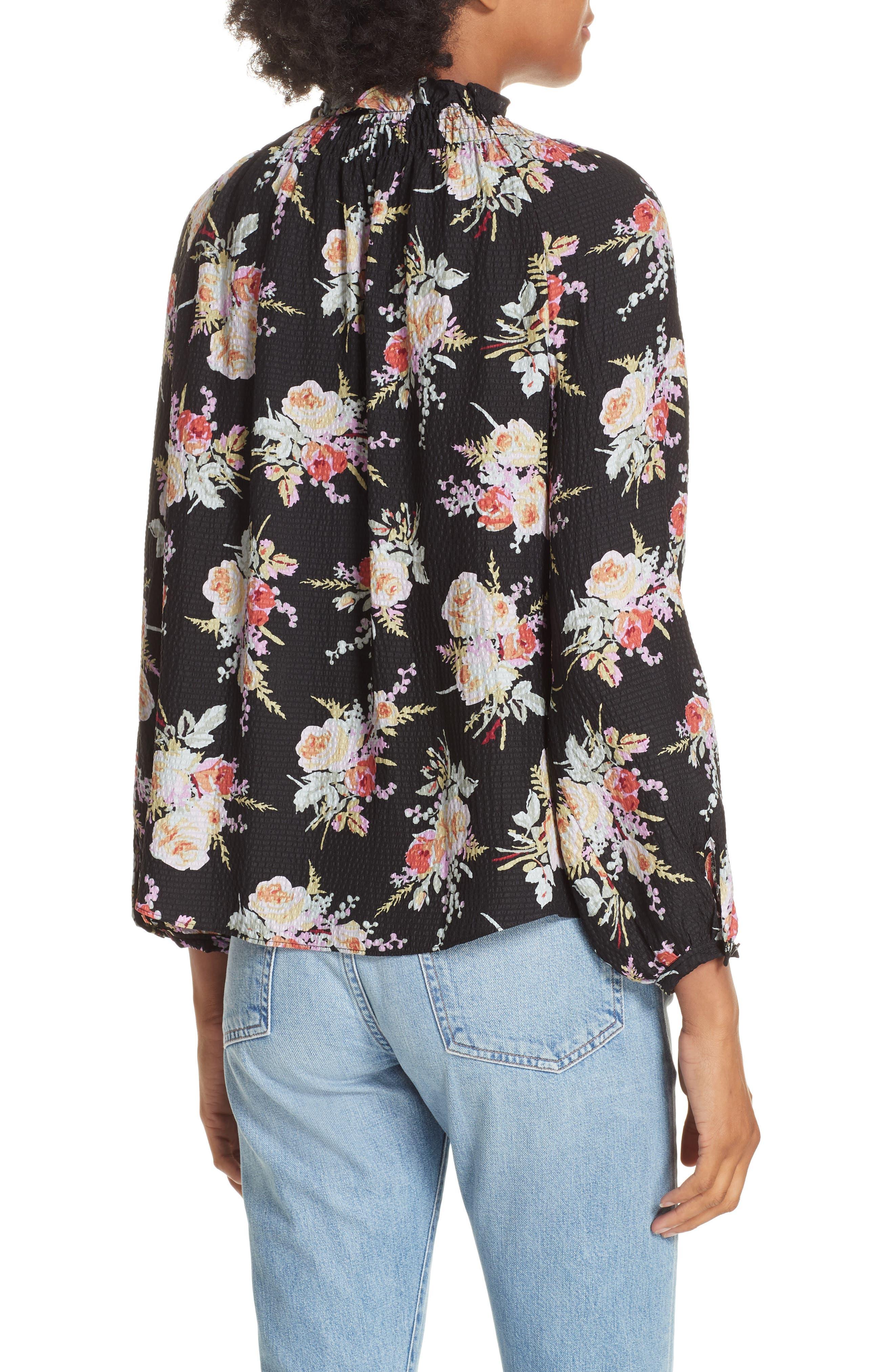 Floral Silk Blouse,                             Alternate thumbnail 2, color,                             BLACK COMBO