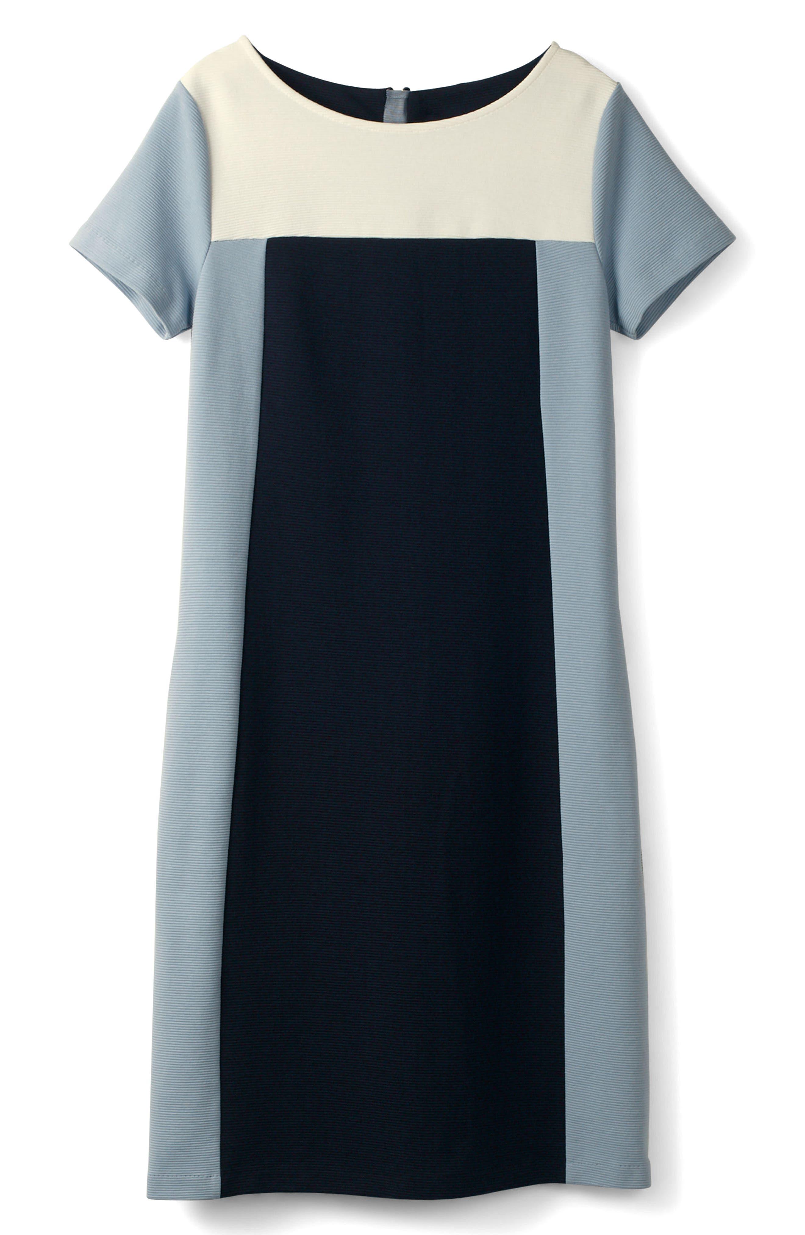 Modern Colorblock Ponte Dress,                             Alternate thumbnail 4, color,                             414