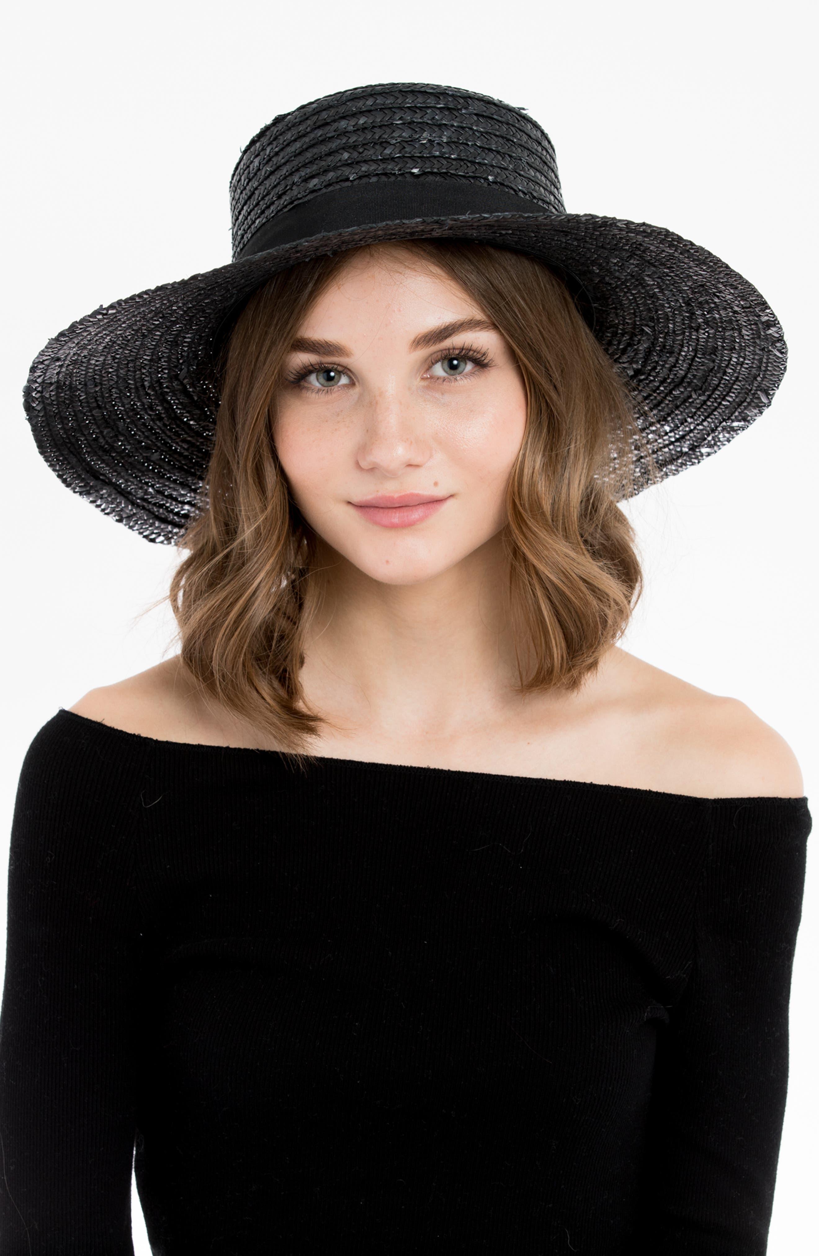 Lupe Straw Resort Hat,                             Alternate thumbnail 2, color,                             BLACK