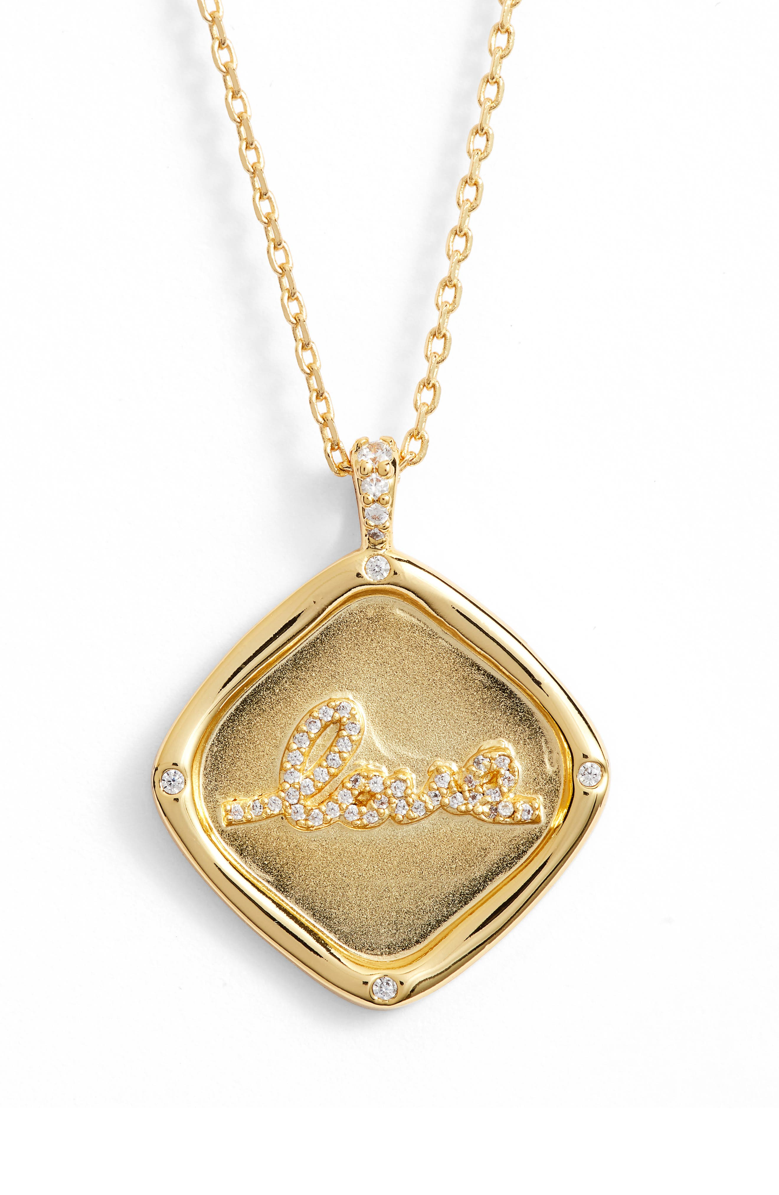 LULU DK Love Crystal Pendant Necklace in Gold