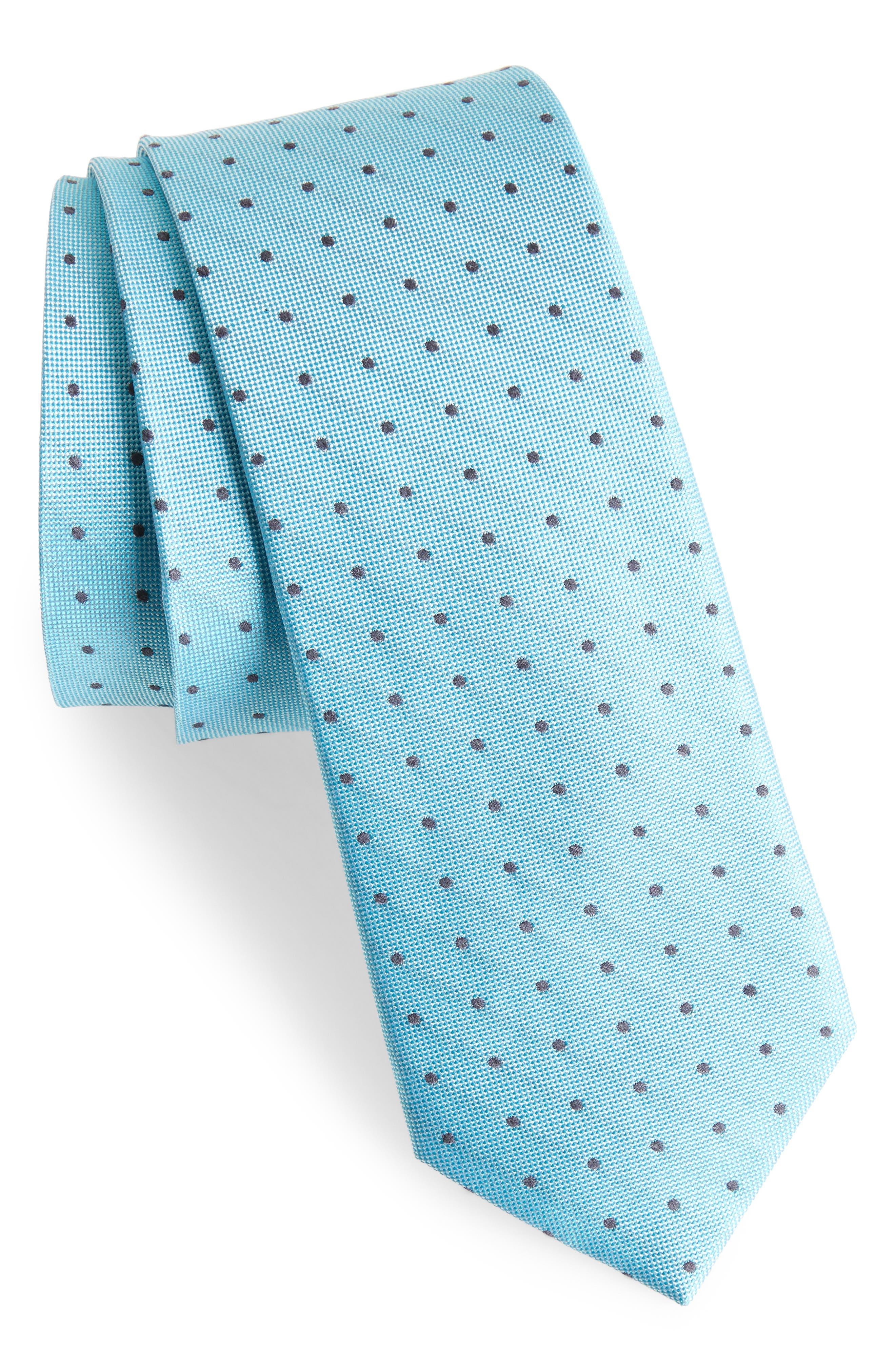 Dot Silk Blend Skinny Tie,                             Main thumbnail 2, color,